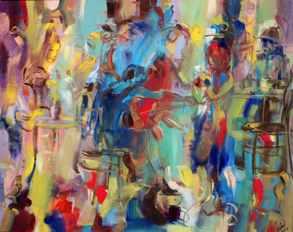 Art Village Gallery, Zeinu Mudeser, _Ignited cello_-24x30 in -acrylic on canvas-2017 $1800.jpg