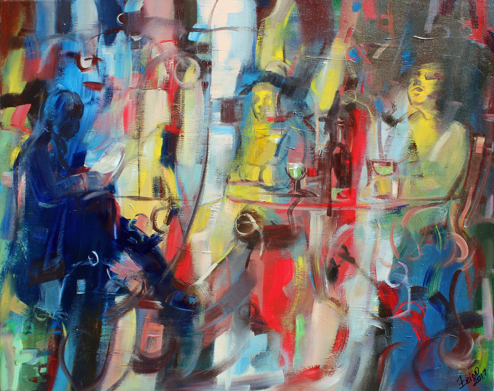 Art Village Gallery, Zeinu Mudeser, _The Absinthe Drinker, 24x30, acrylic on canvas, 2017, $1800.jpg