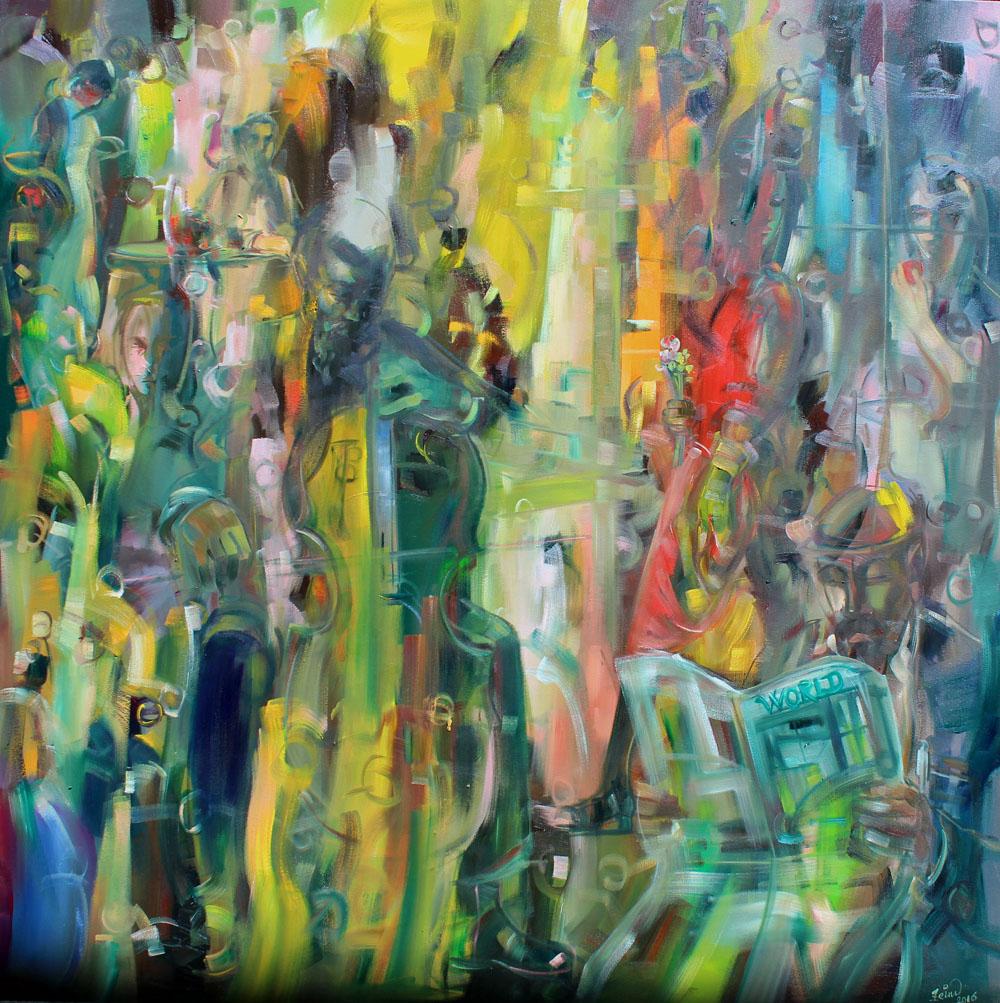 Art Village Gallery, Zeinu Mudeser, _The Cellist World_ - 48x48 in - acrylic on canvas - 2017 - $6800.jpg