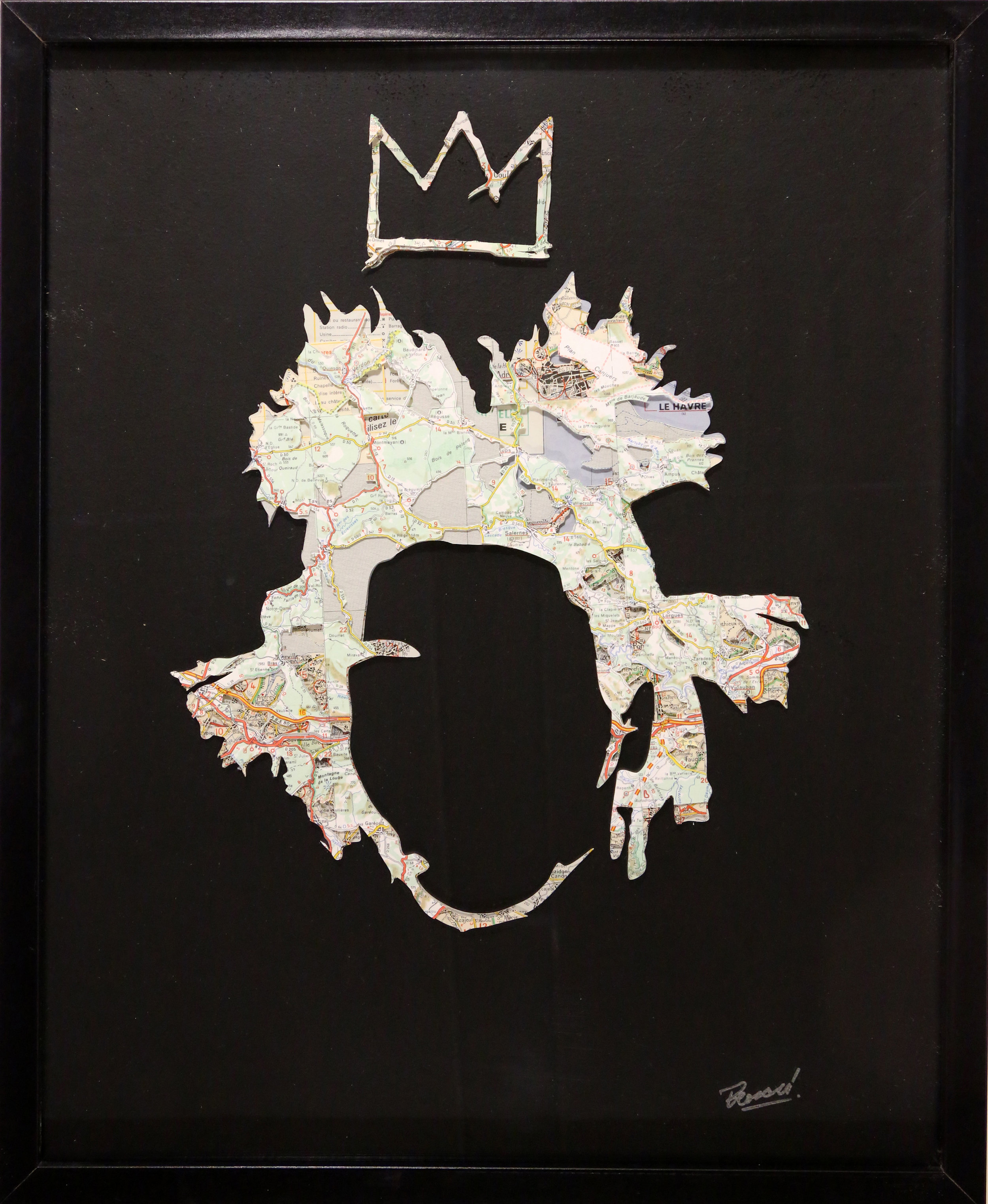GalleryOonH-Joanathan Bessaci-Basquiat 1-2017-Michelin maps and glass-16x20-1400.jpg