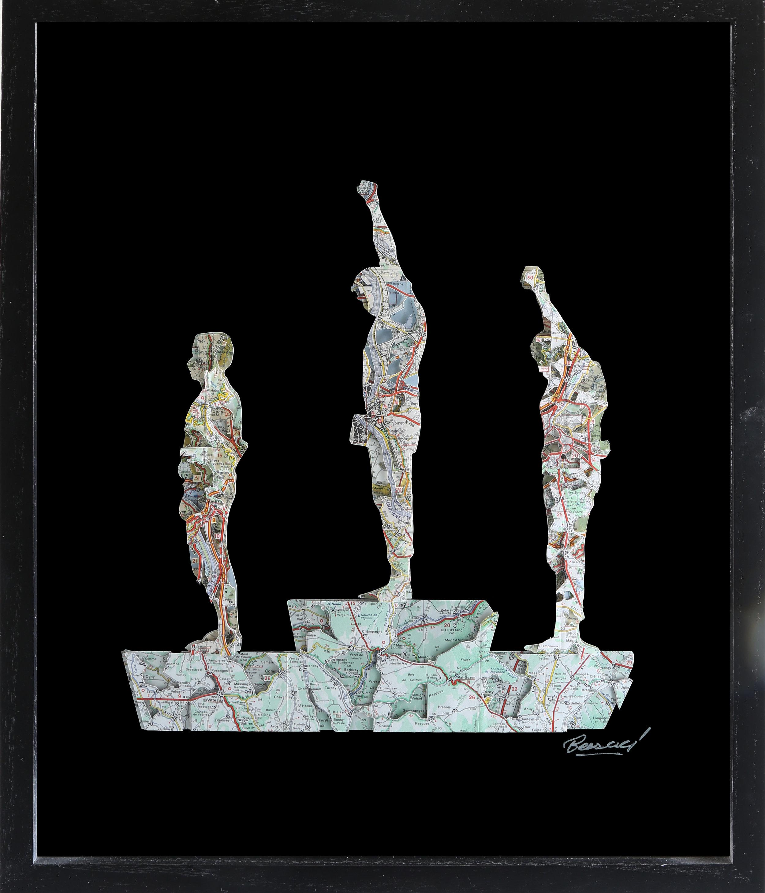 GalleryOonH-Joanathan Bessaci-Black Power Olympians-2017-Michelin maps and glass-16x20-1400.JPG