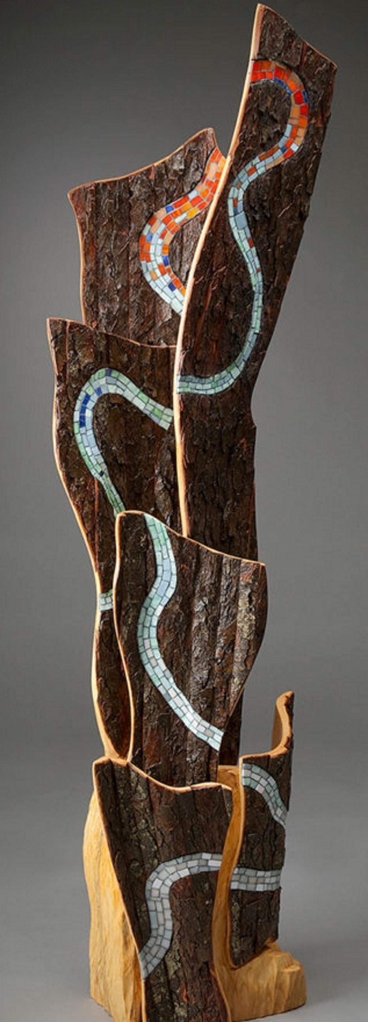 Zenith Gallery- Aaron Laux-Waters Pathway-2016-Wood with glass inlay- 66h x 29w x 15 d - $7,500.jpg
