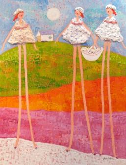 Zenith Gallery- Caroline Benchetrit-Trois-2010-Acrylic and encaustic on canvas- 40h x 30 w - $4400.jpg