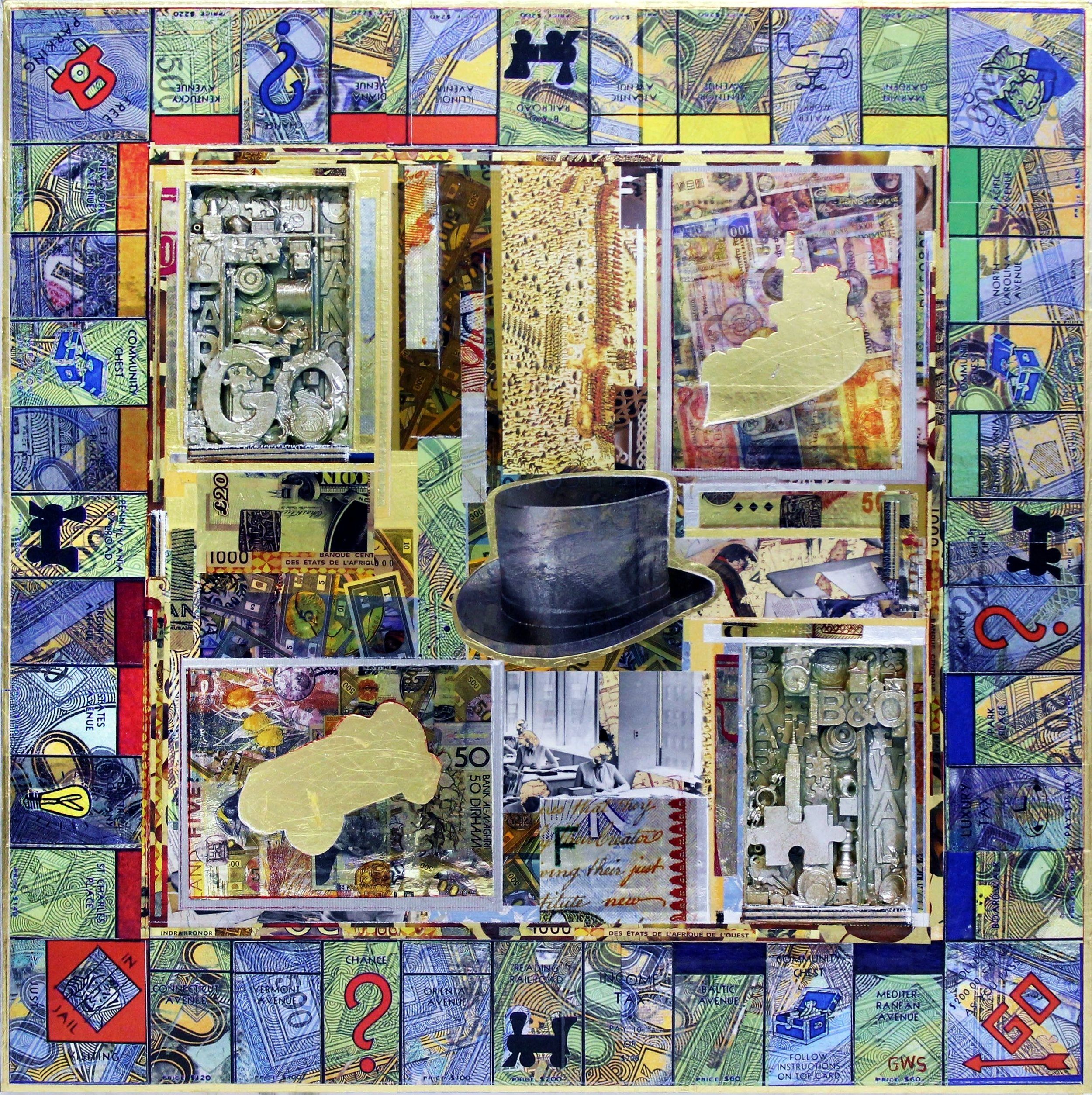 Zenith Gallery- Gavin Sewell-The Top Hat Always Wins-2018- mixed-media on panel-36 x 36 -$3850.jpg