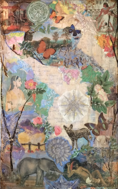 Zenith Gallery-Suzy Scarborough-Around the World in Harmony-2017-21h x 13w-Arcylic _ Collage on Wood-$600.jpg