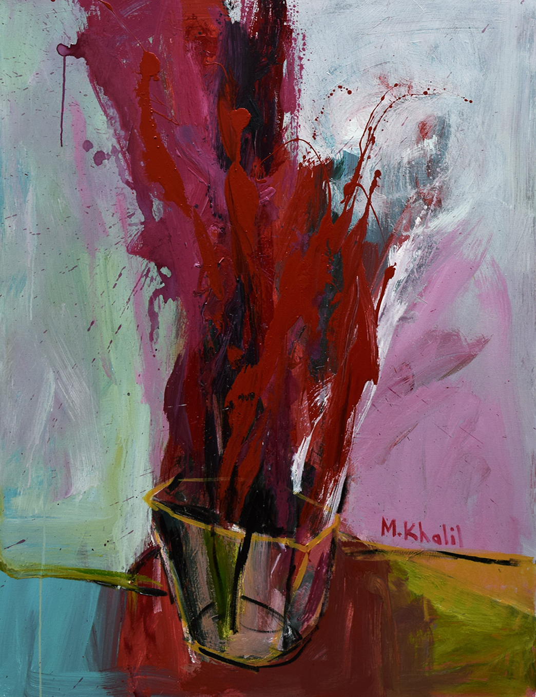 XOL Gallery - Mohamed Khalil (Palestine) - _Vase I_ - 36 x 48 in - Acrylic on canvas - Baltimore, MD 2016 - $3,000.00.jpg