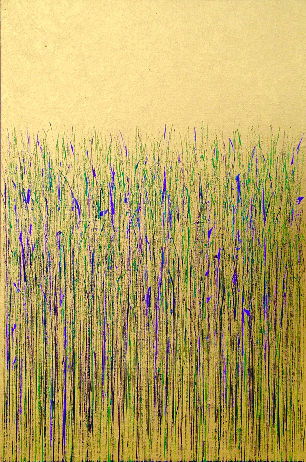 Mary D. Ott_Green and Purple on Gold_2016_Acrylic and metallic paint_36 x 24_$1800.jpg