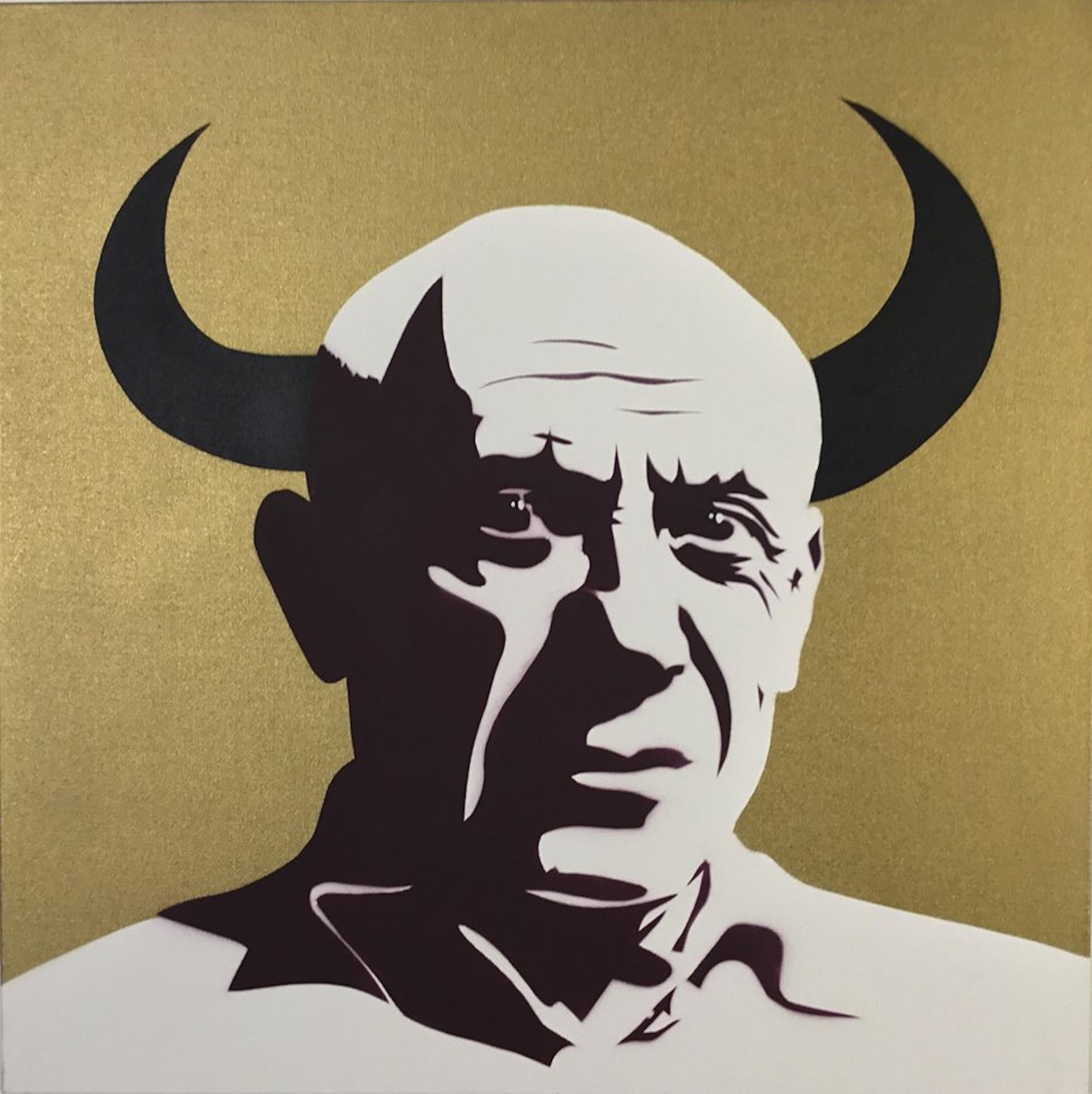 Cindy Lisica Gallery - Charles Uzzell Edwards AKA PURE EVIL - _Picasso - El Toro_ - 30 x 30 inches - stencil spray paint on canvas - 2018 - $2000.jpg