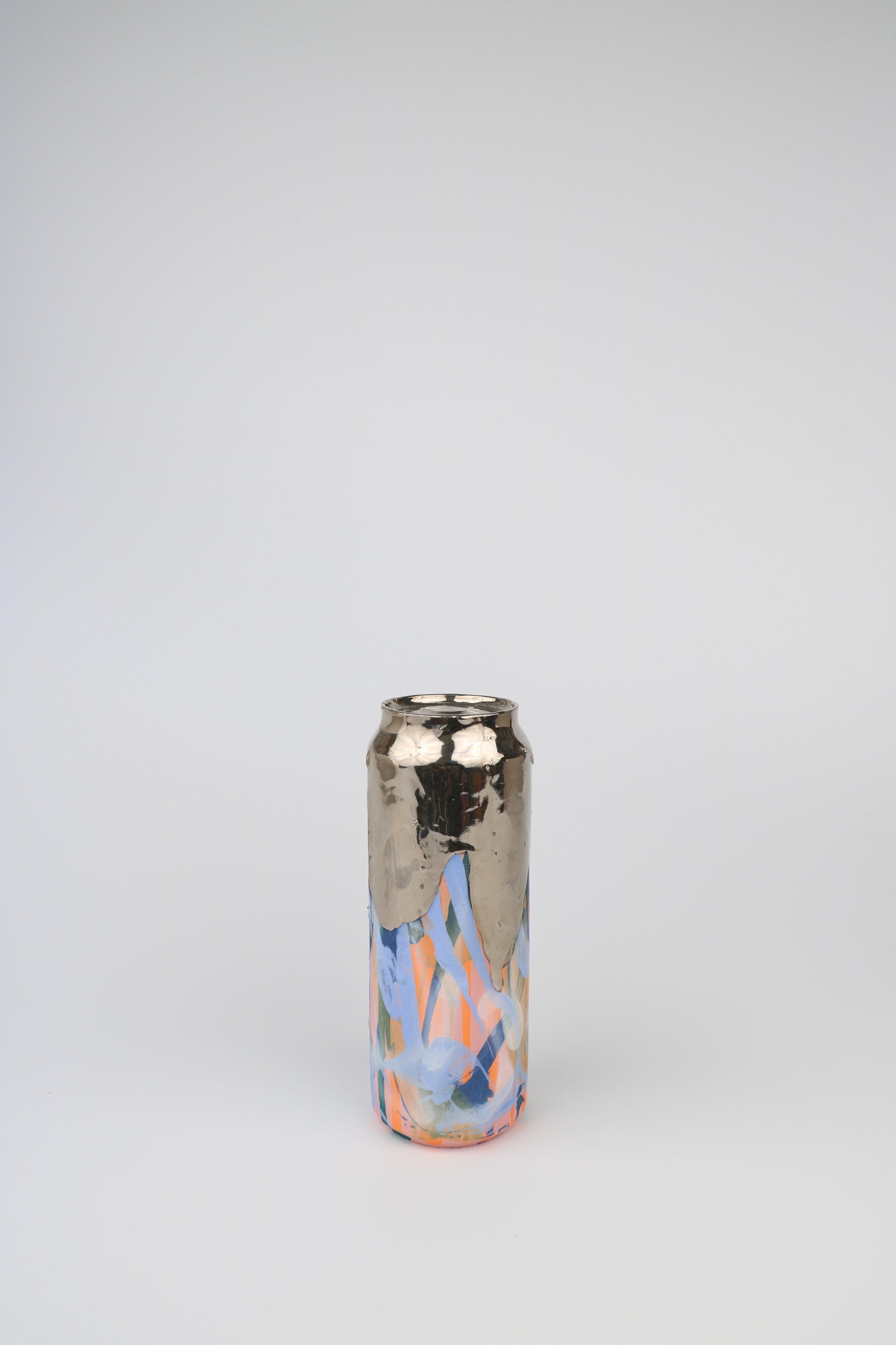 Cindy Lisica Gallery - Jeff Schwarz - _Beer Can_16_ - ceramic and silver lustre glaze - 8 x 3 x 3 inches - 2017 - $400.JPG