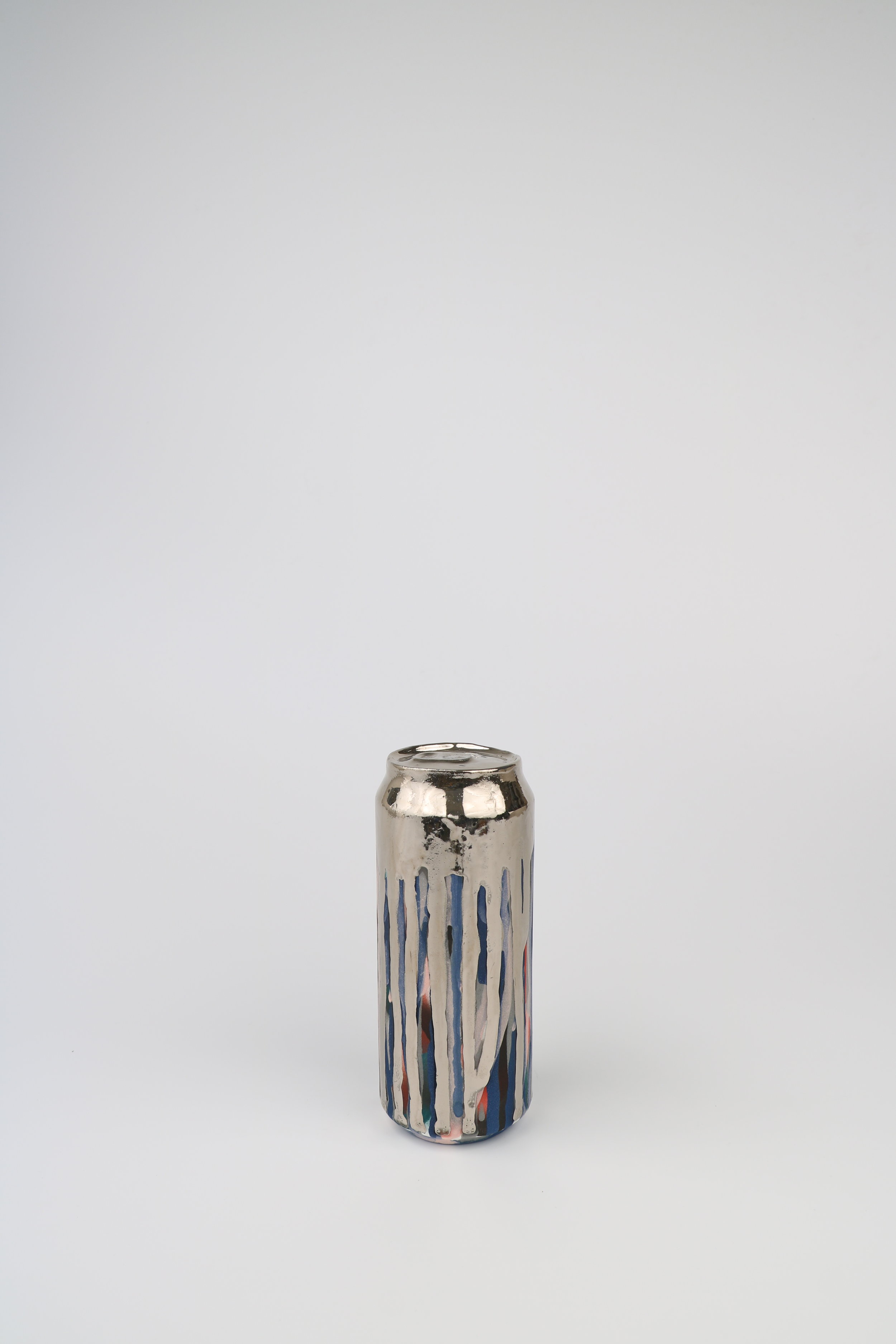 Cindy Lisica Gallery - Jeff Schwarz - _Beer Can_18_ - ceramic and silver lustre glaze - 8 x 3 x 3 inches - 2018 - $500.JPG