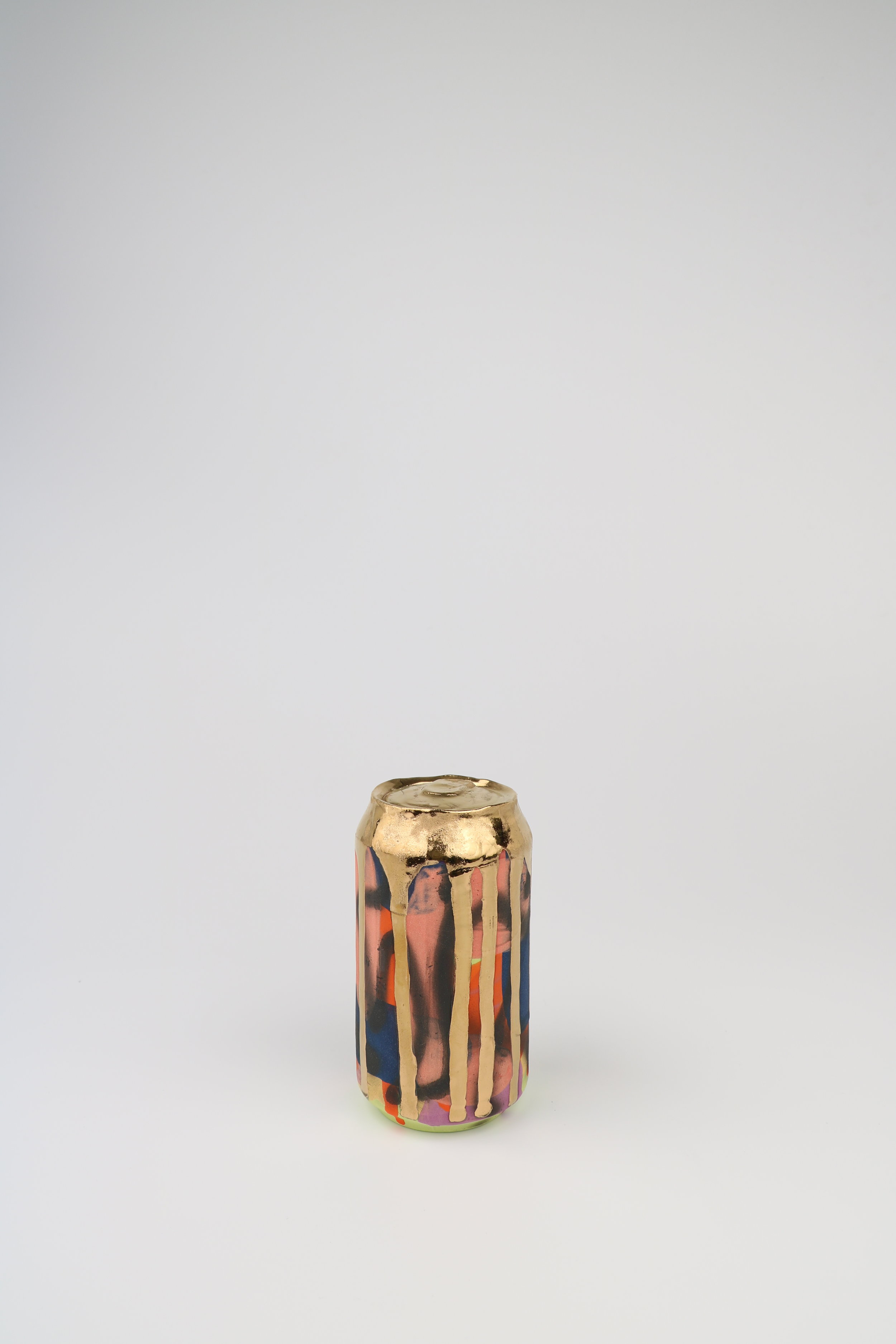 Cindy Lisica Gallery - Jeff Schwarz - _Beer Can_25_ - ceramic and 24kt gold lustre glaze - 6 x 3 x 3 inches - 2017 - $350.JPG