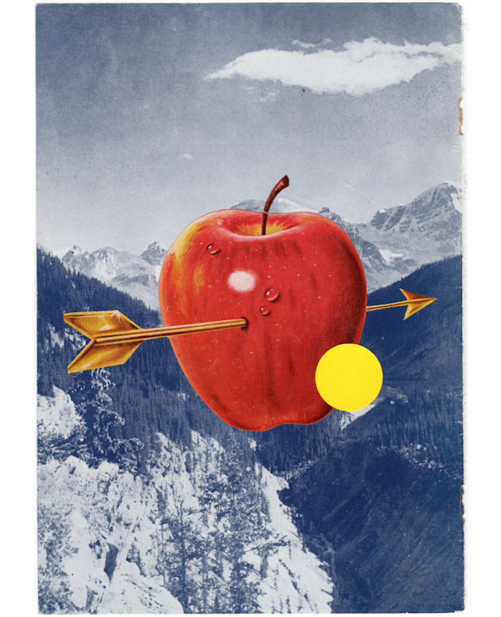 Cindy Lisica Gallery - Lennox Rees - _This and That - Apple_ - 13 x 10 inches - collage and silkscreen cut-out - 2018 - $200.png