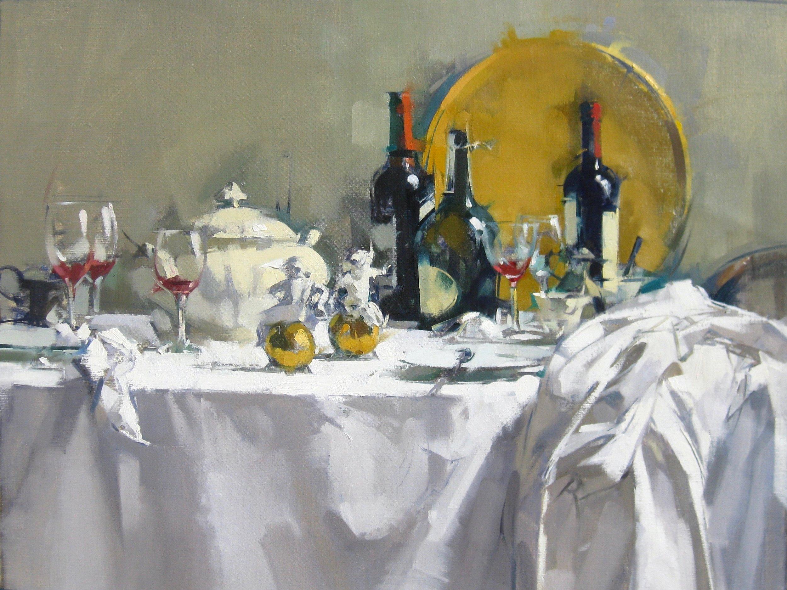 Maggie Siner, Putti on Table, Oil on Linen, 24x32, $6,200.jpg