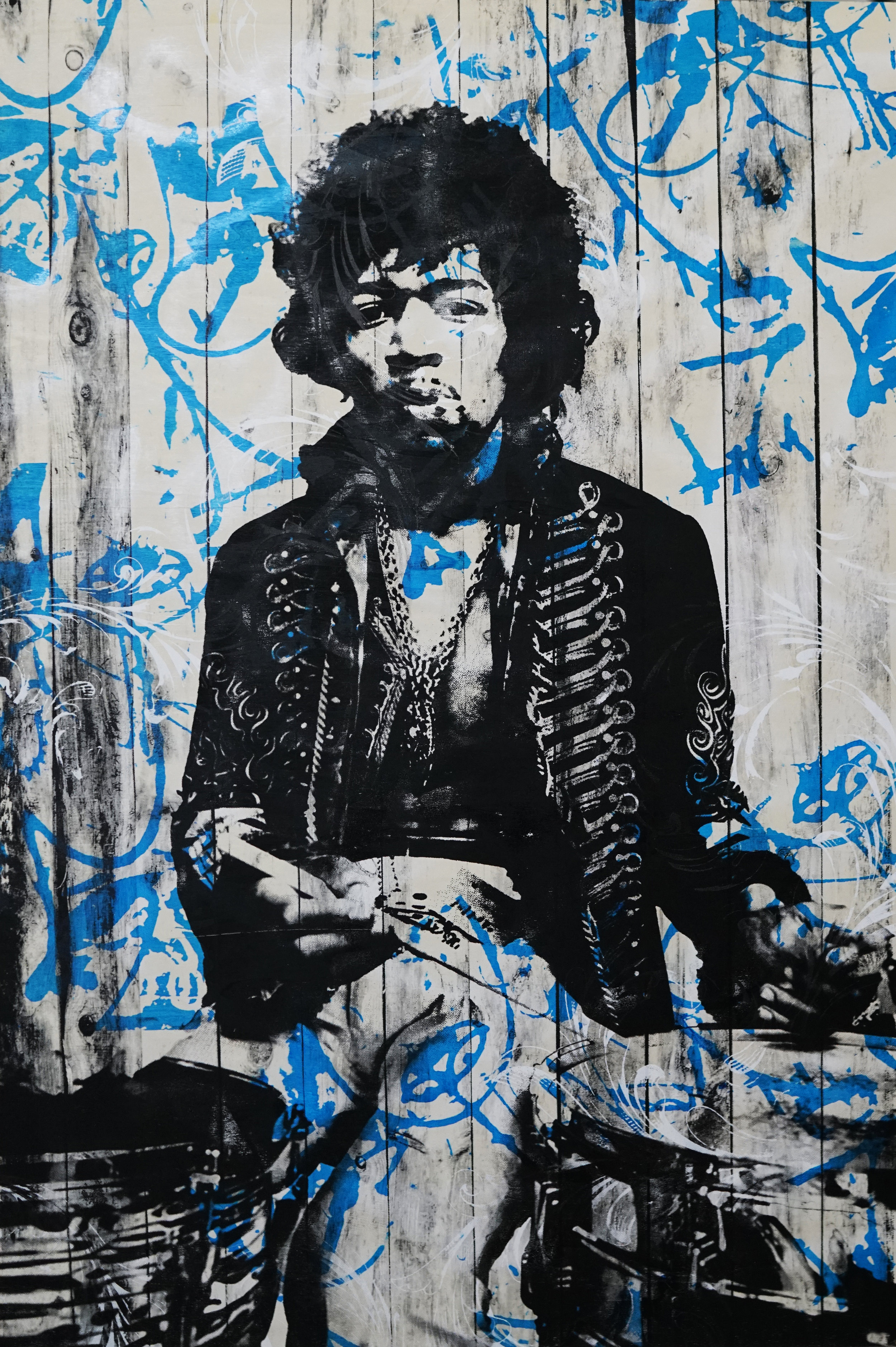 Jared Schwalb_Buster_2018 _24 x 36 inches_Aerosol and Hand Screen on wood panel_$2,400.jpg
