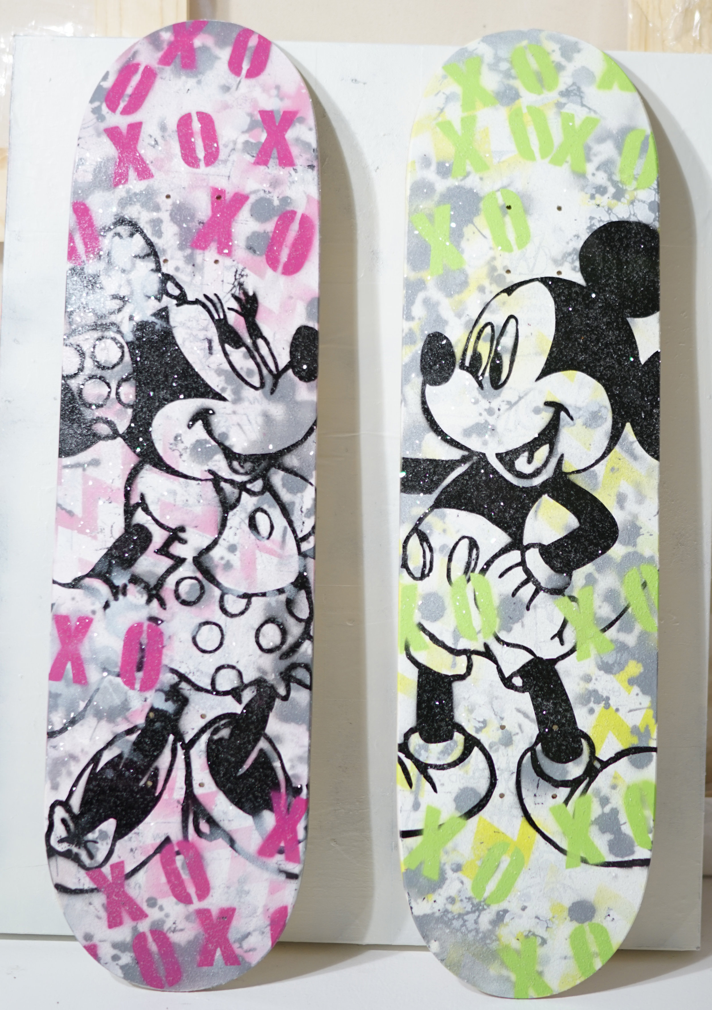 Jared Schwalb_XOXO_2018_8.5 x 33_Spray Paint,  Diamond Dust On Skate Deck_$2,850 pair_$1,500 each .jpg