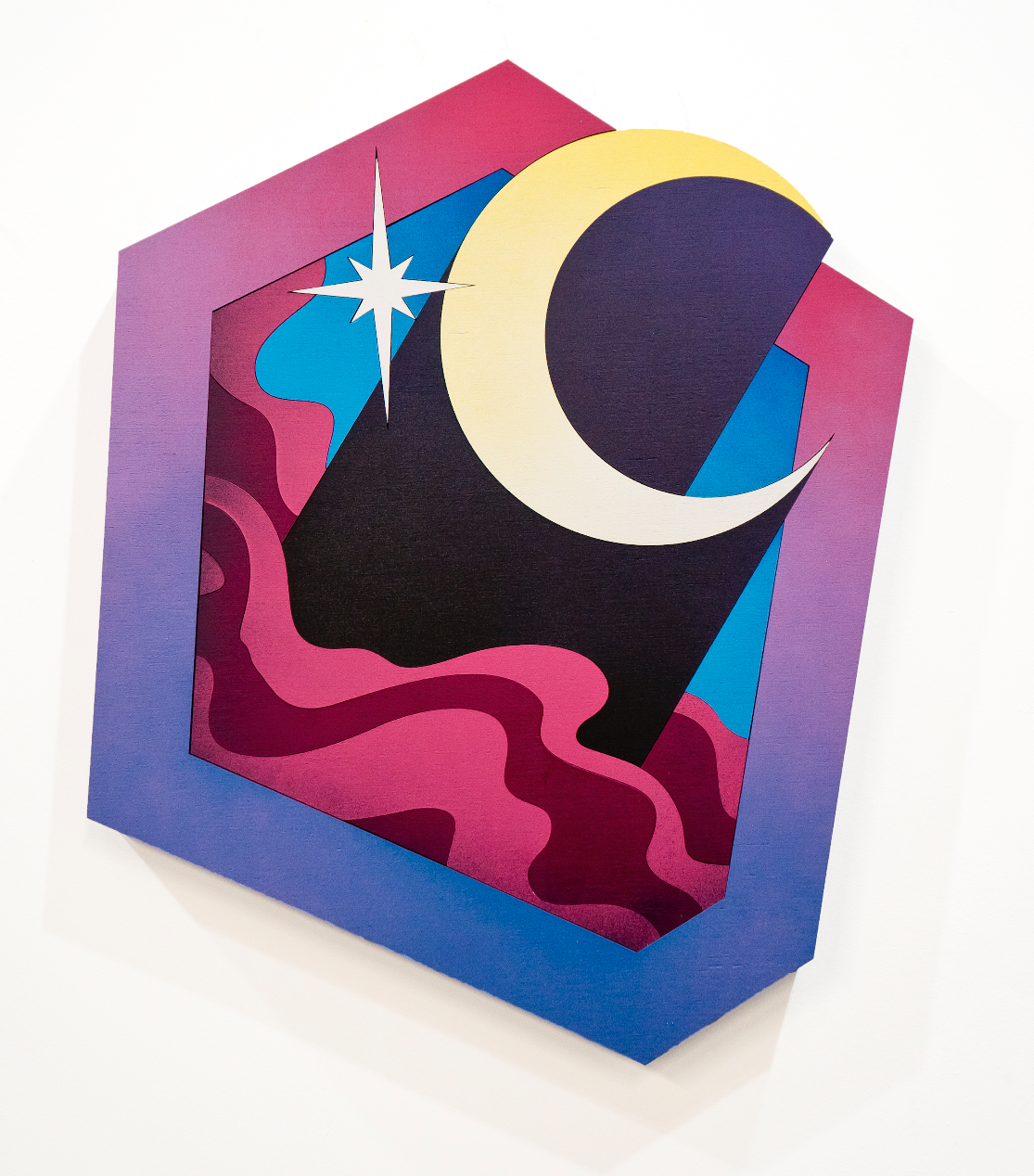Mickael Broth Les Etoiles, La Lune (the stars, the moon) 24x20 Spray paint on 22 pieces of wood $1600.png