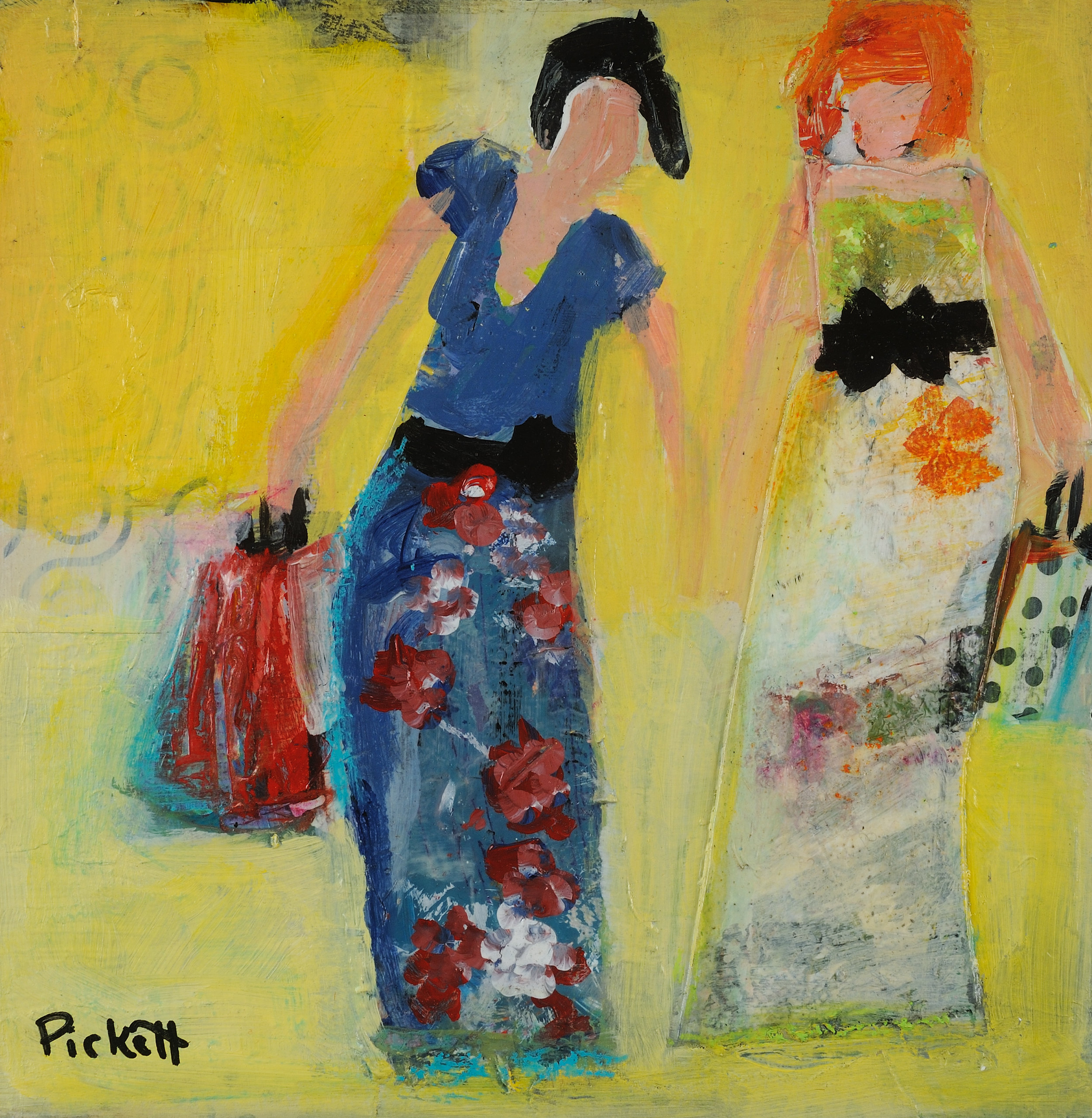Foundry Gallery-Ann Pickett-Women Who Lunch-8x8-Acrylic with collage-2017-$200.jpg