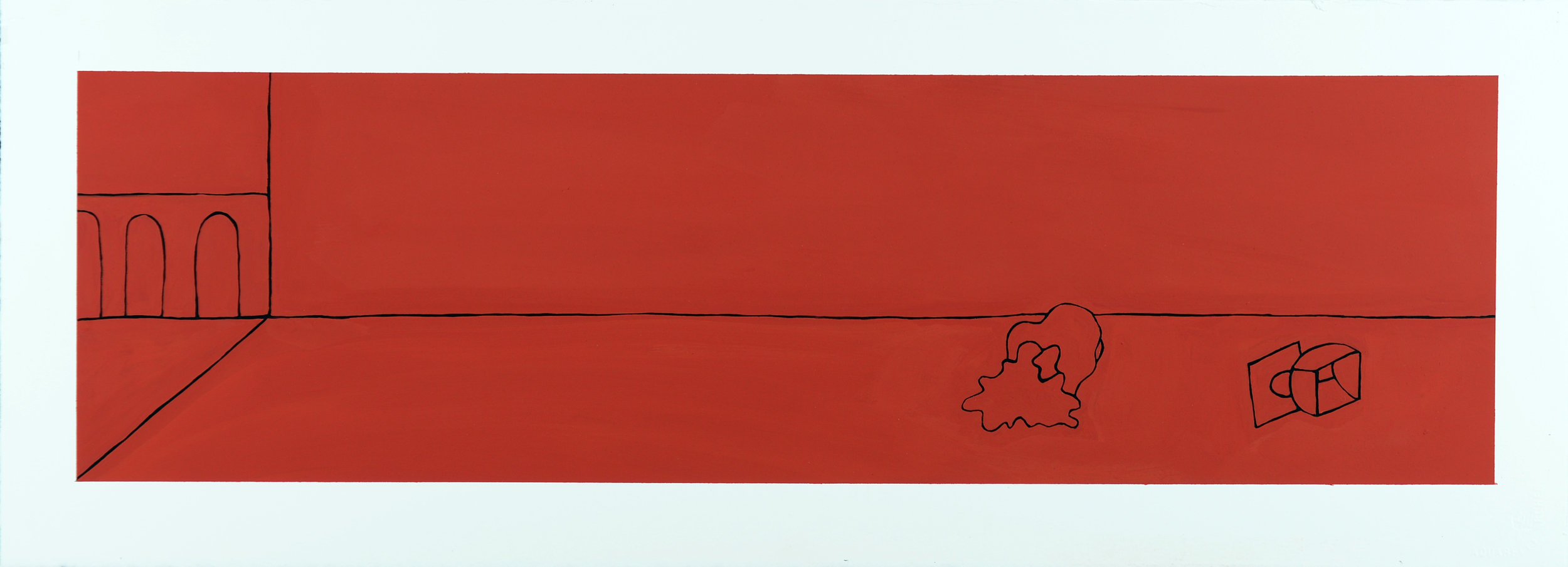 Monochrome Collective : Gary Kret : Would the Underworld be Red Series #4 : Casein on Paper : 8 x 27.5 : $2,600.jpg
