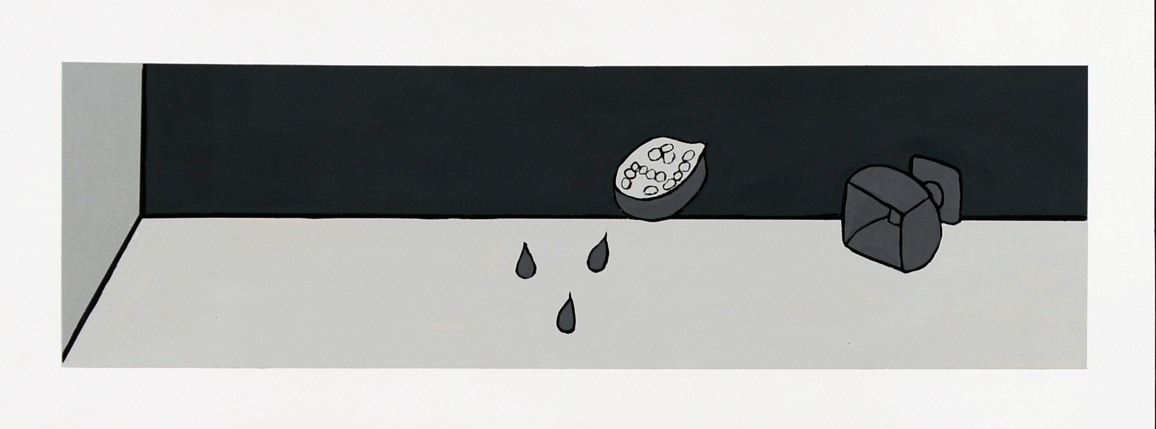 Monochrome Colletive : Gary Kret : Pomegranate and Compote : Acrylic on paper : 4 x 14.5 in. : $850  .jpg