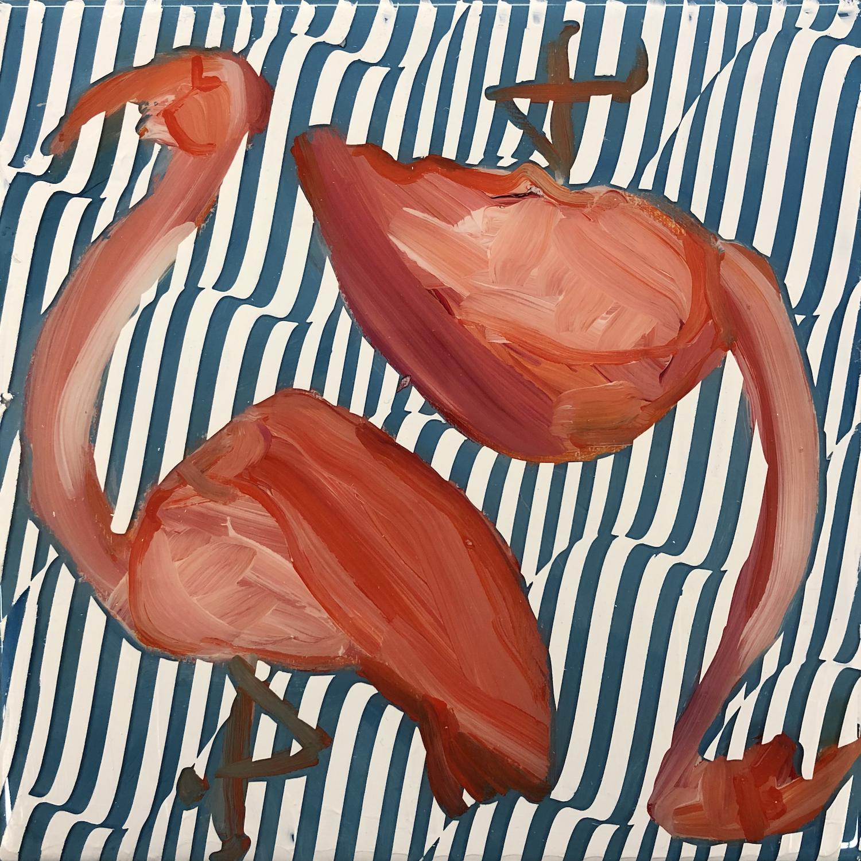 Sean Christopher Ward and Dana Blickensderfer Collaboration - Flamingo Duo I - Acrylic and ArtResin on Wood Panel - 8x8x1.5 - 2018 - 250.jpg