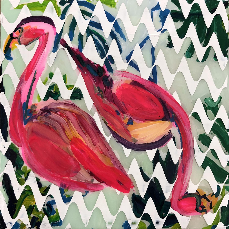 Sean Christopher Ward and Dana Blickensderfer Collaboration - Flamingo Duo II - Acrylic and ArtResin on Wood Panel - 8x8x1.5 - 2018 - 250.jpg