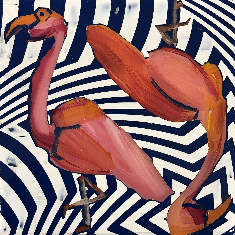 Sean Christopher Ward and Dana Blickensderfer Collaboration - Flamingo Duo III - Acrylic and ArtResin on Wood Panel - 8x8x1.5 - 2018 - 250.jpg