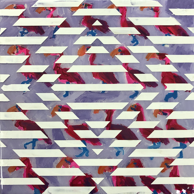 Sean Christopher Ward and Dana Blickensderfer Collaboration - Flamingo Pattern - Acrylic and ArtResin on Wood Panel - 8x8x1.5 - 2018 - 250.jpg