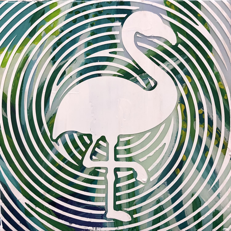 Sean Christopher Ward and Dana Blickensderfer Collaboration - Flamingo Silhouette - Acrylic and ArtResin on Wood Panel - 8x8x1.5 - 2018 - 250.jpg