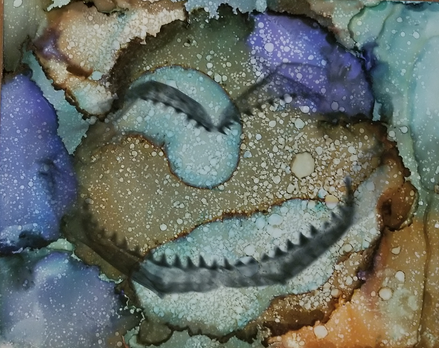 Sug. O_Shen - _Great Barrier Reef_, alcohol ink, charcoal, water from the source, on Yupo_ 15 x 12, 2018- $425..jpg