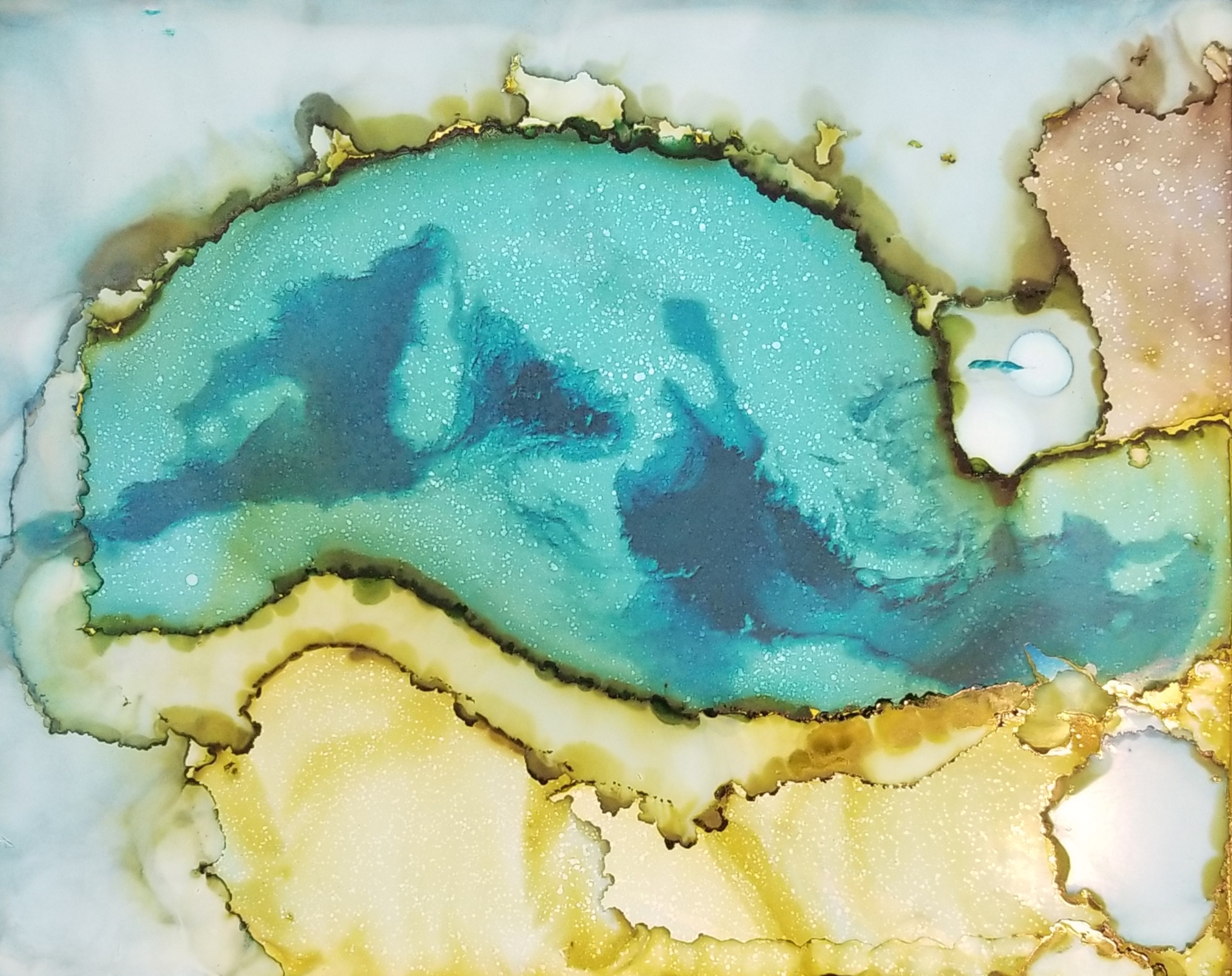 Sug. O_Shen - _Gulf of Naples, IT_, alcohol ink, charcoal, water from the source, on Yupo_ 15 x 12, 2018- $425..jpg