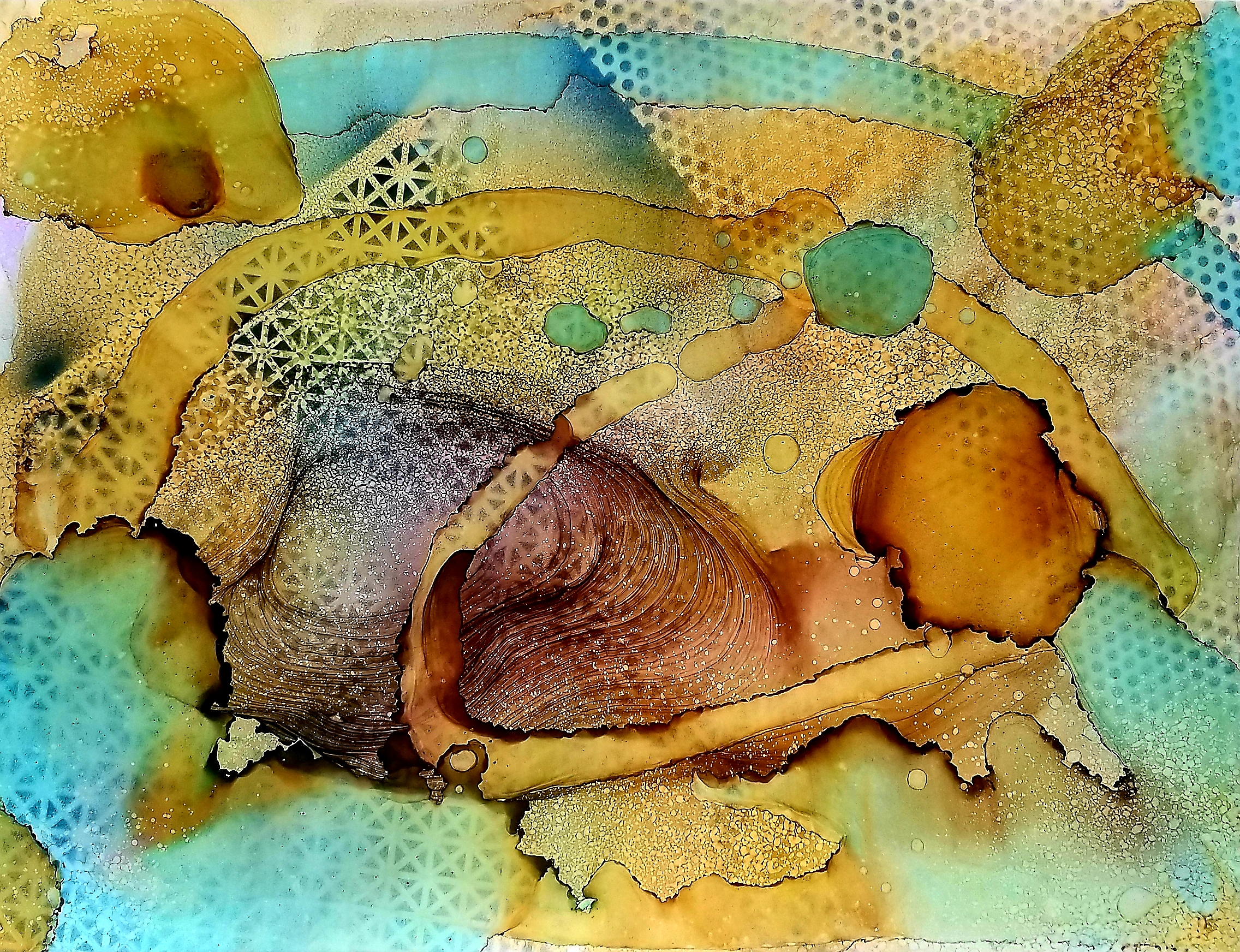 Sug. O_Shen - _San Juan_, alcohol ink, charcoal, water from the source, on Yupo_ 36 x 28, 2018- $2295..jpg