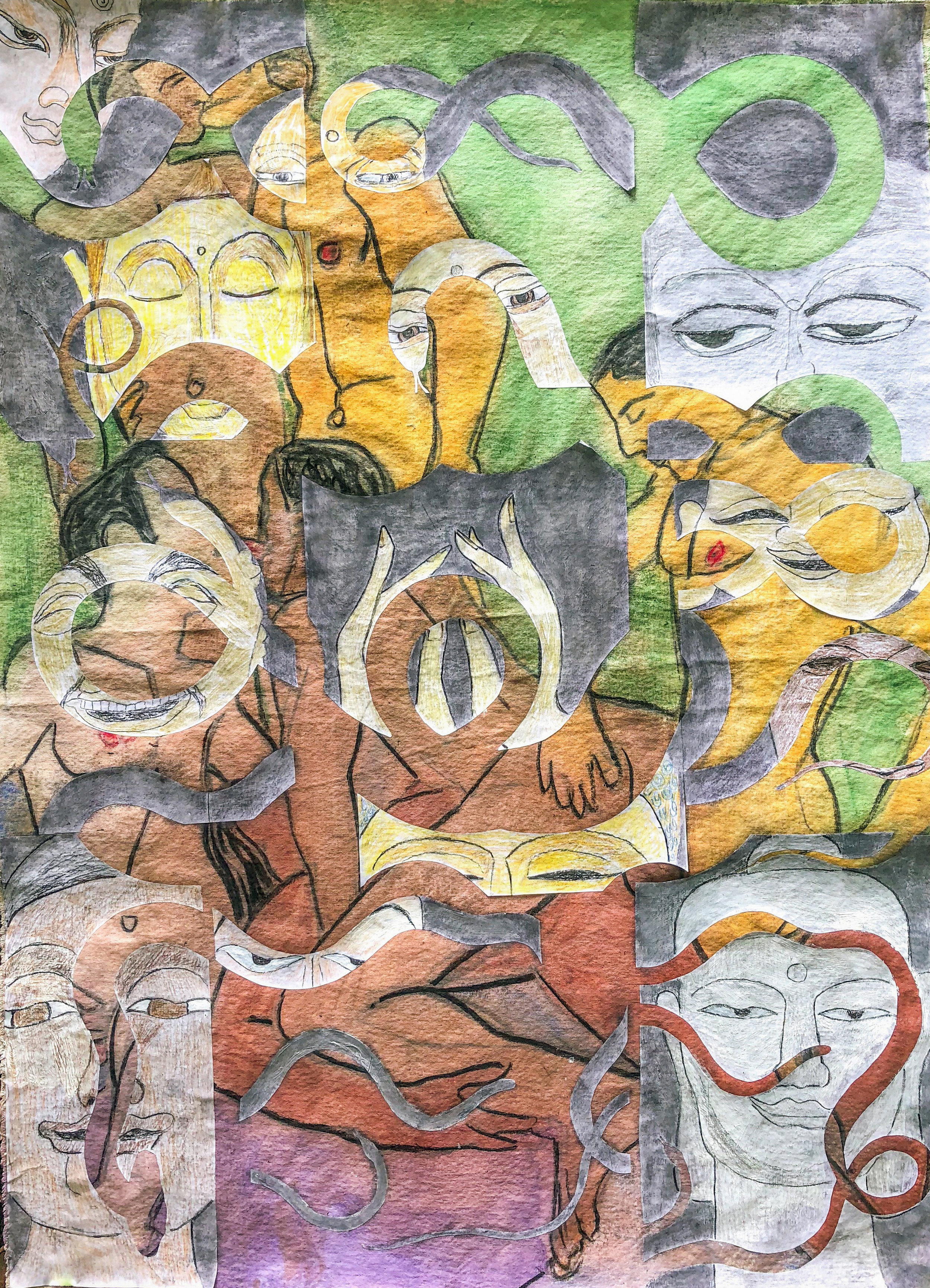 TonyMichaleEstrada - Future Buddhas 2 - 43 x 31.5 - pastel drawings on cuts outs on pastel drawing on canvas- 2018 - $700.jpg