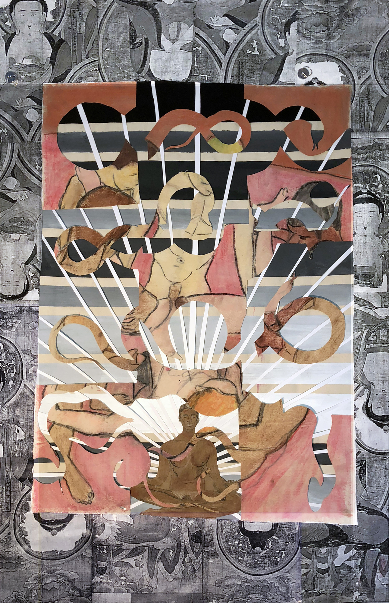 TonyMichaleEstrada - Future buddhas 3 - 62.5 x 41 - mixed media_ pastel drawing on canvas cut outs floating in photo print assemblage frame with cardboard and canvas painting background - 2018 - $1500.jpg