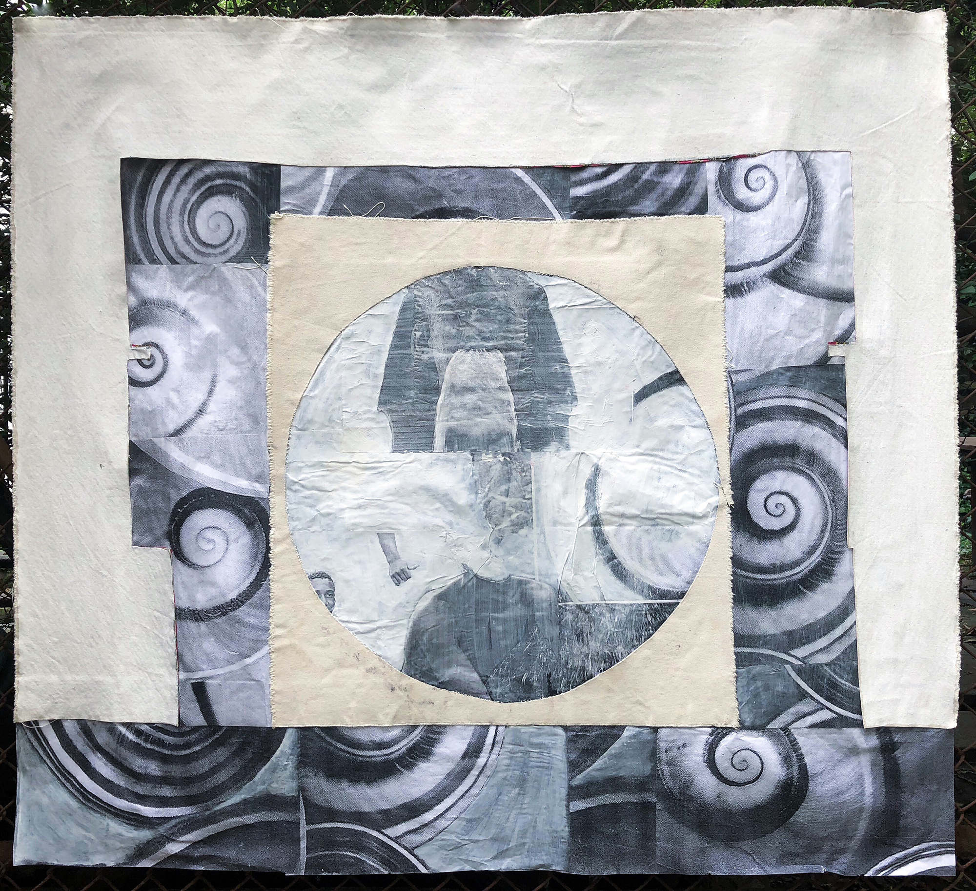 TonyMichaleEstrada - God and monster - 48 x 53.5 - mixed media_ canvas and photo print collage with gesso - 2018 - $1000.jpg