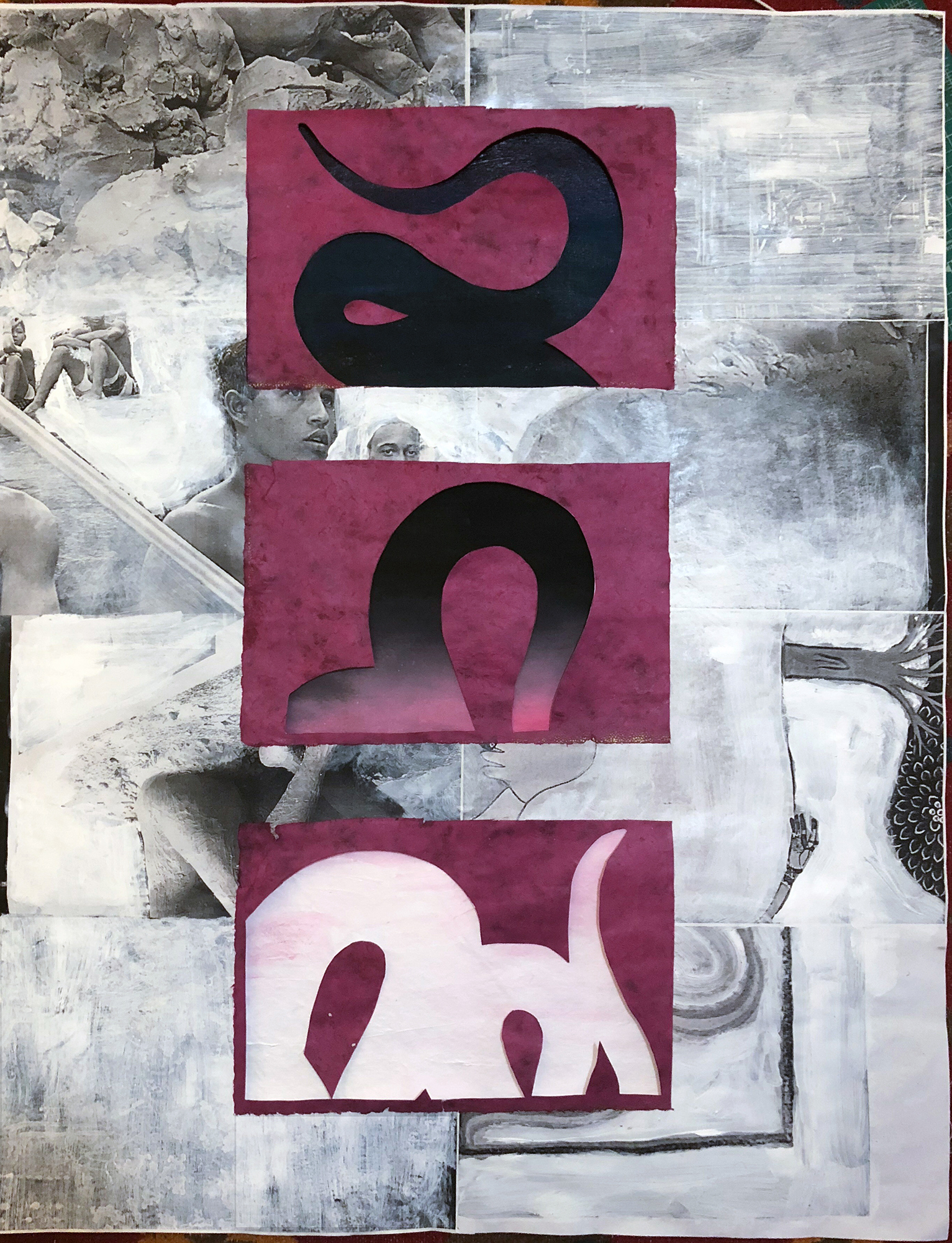 TonyMichaleEstrada - Intercessors 3 - 44 x 28 - assemblage_ hand made paper cut outs on acrylics on canvas on paper print collage with gesso  - 2018 - $800.jpg