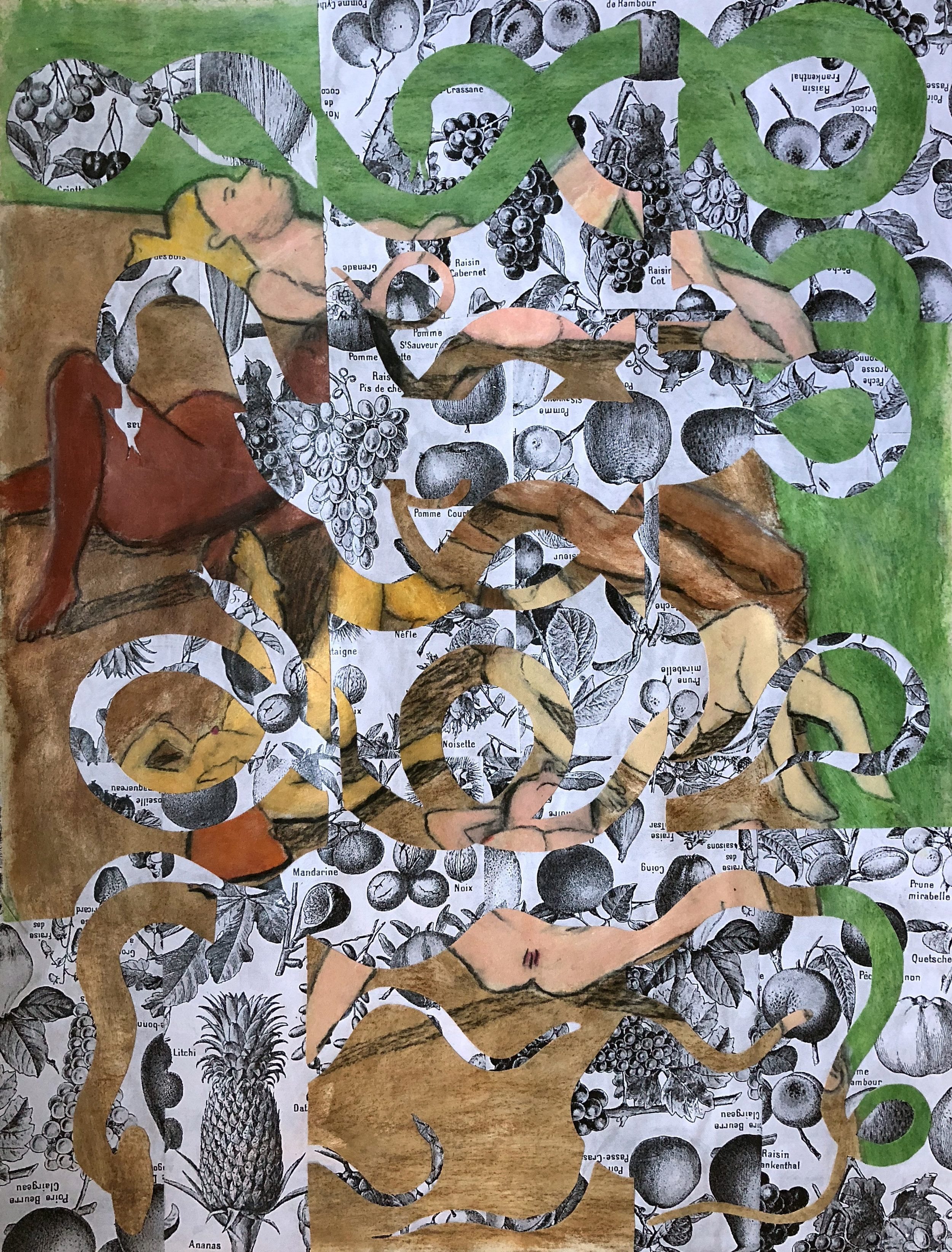 TonyMichaleEstrada - Male Gaze in the Garden of Eden 1 - 43 x 31.5 - pastel drawing cut outs on photo print collage - 2018 - $700.jpg