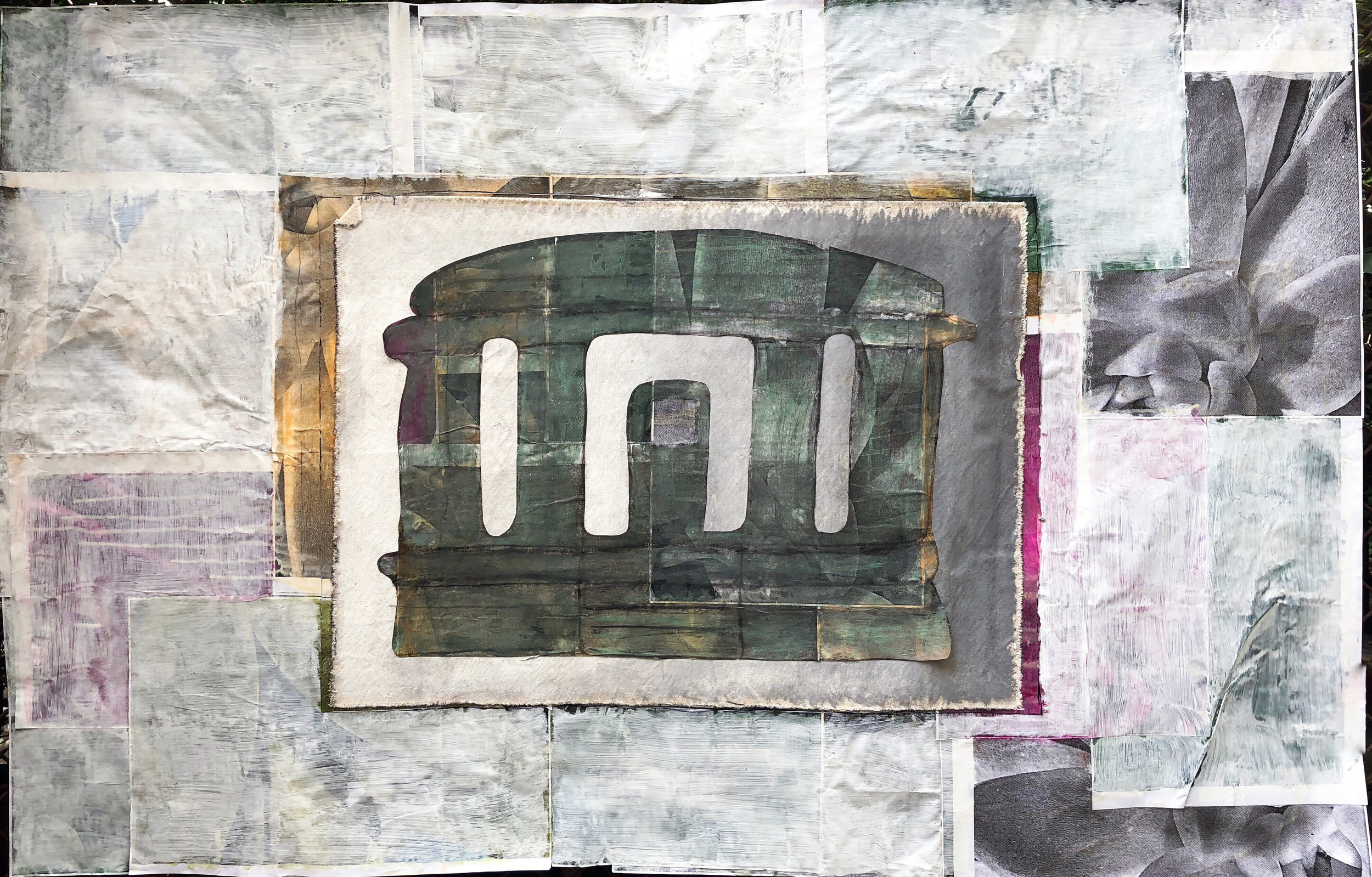 TonyMichaleEstrada - Welcome Home I - assemblage_ cut out pastel drawing on acrylics on canvas with photo print collage border with gesso - 35.25 x 53.5 - 2018 - $900.jpg