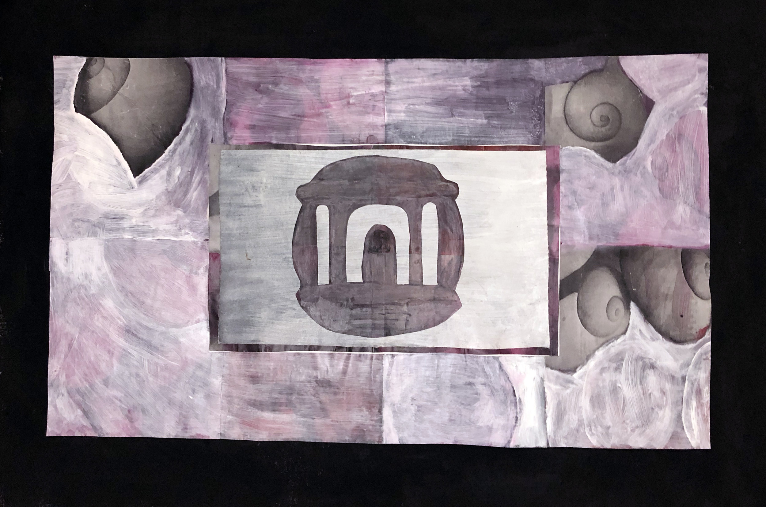TonyMichaleEstrada - Welcome Home II - assemblage_ cut out pastel drawing on acrylics on canvas with photo print collage border with pastesl and gesso - 24.5 x 36 - 2018 - $400.jpg