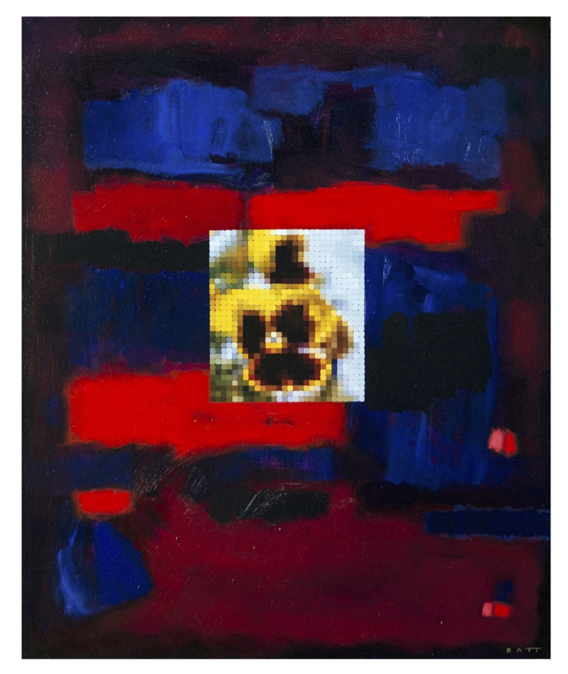 PANSIES ON REDS AND BLUES 30 x 24  in email.jpg