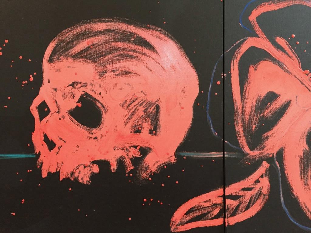 skull and flower oil , 32x32 in 2017 _1500 dolllars.jpg