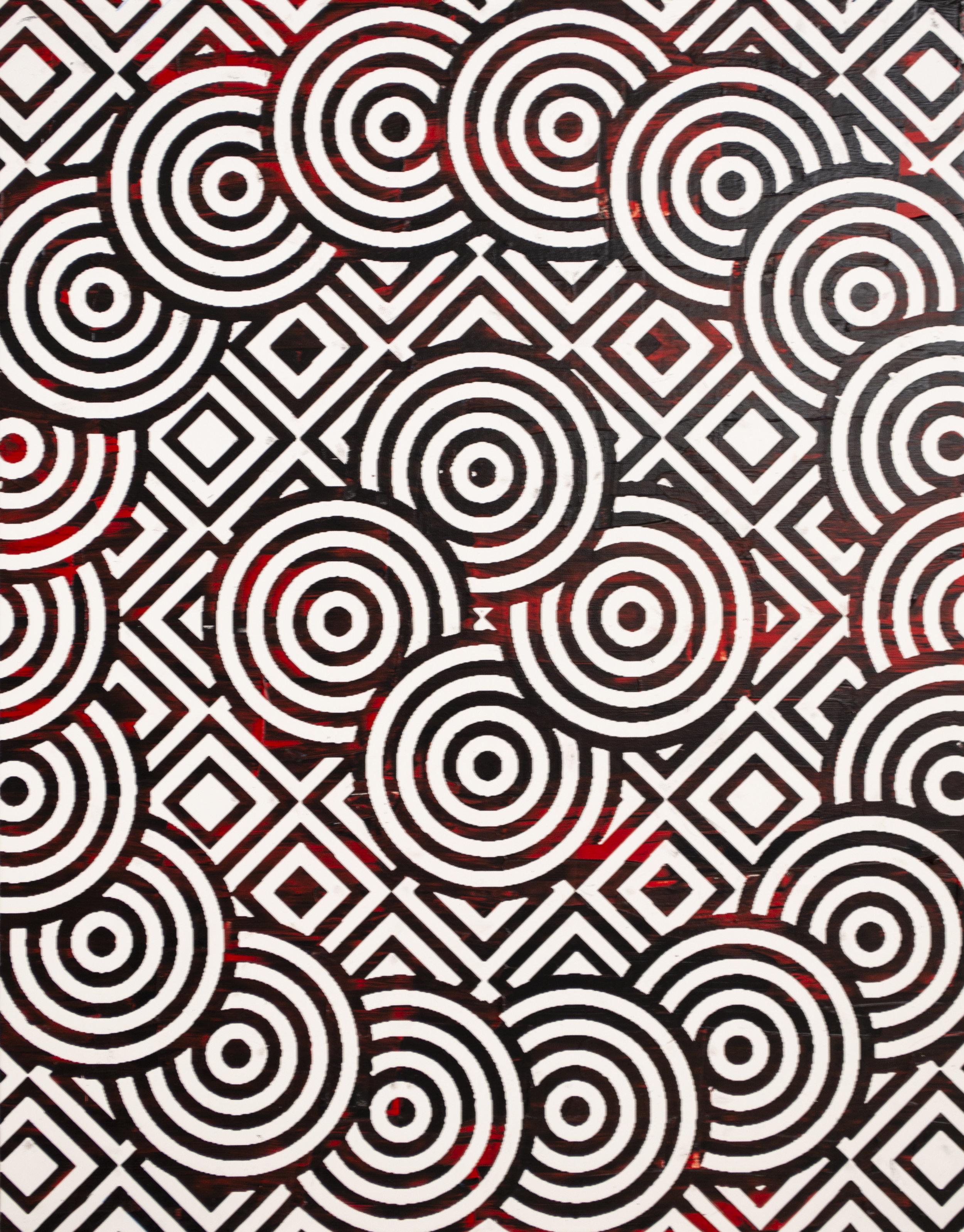 HUE Gallery of Contemporary Art - Sean Christopher Ward - Circles and Diamonds - Acrylic on MDF - 11x14 - 2018 - $300.jpg