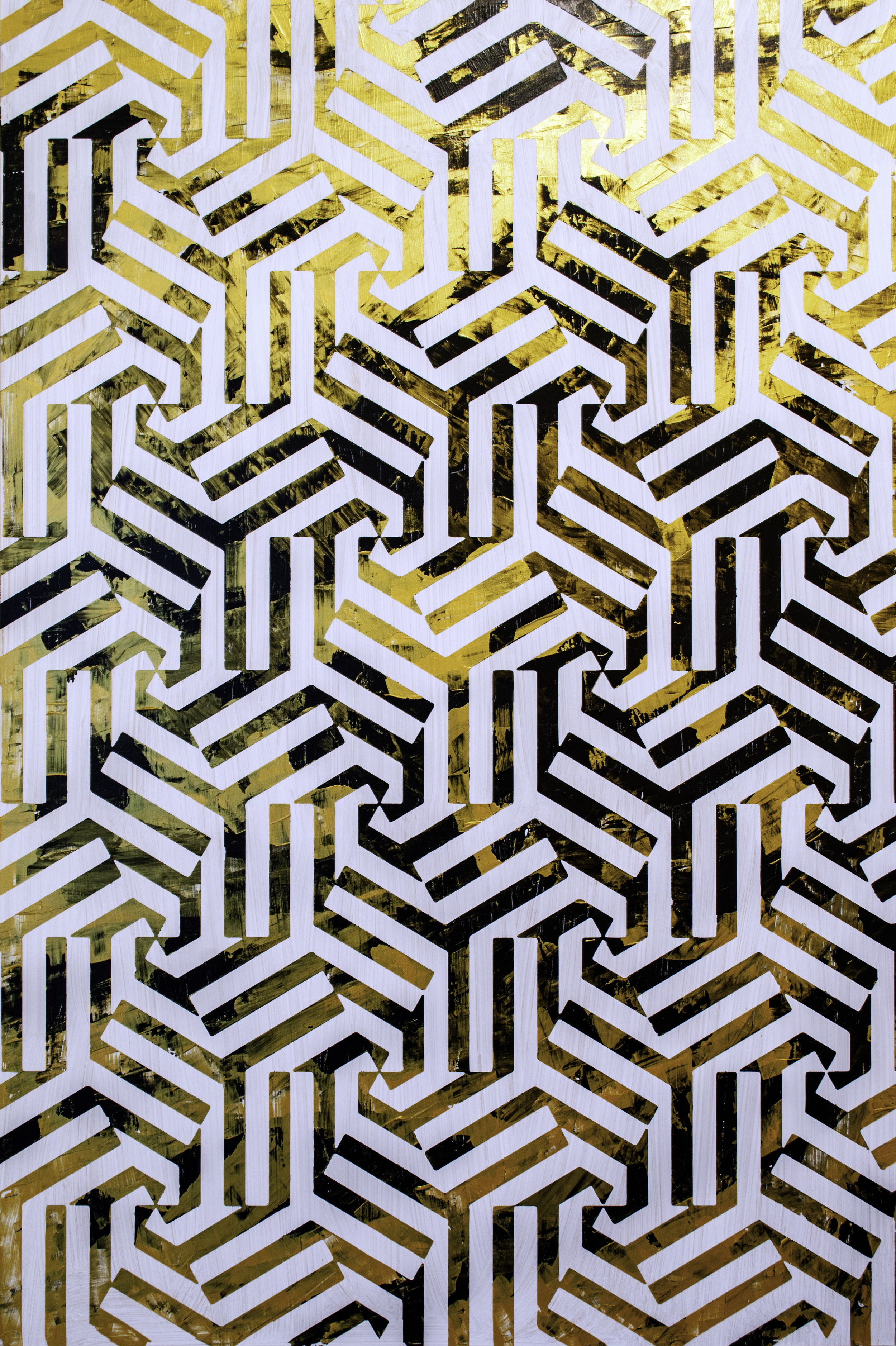 HUE Gallery of Contemporary Art - Sean Christopher Ward - Diamonds and Stripes and Everything Nice - Acrylic on Wood Panel - 24x36x1.5 - 2019 - $1800.jpg