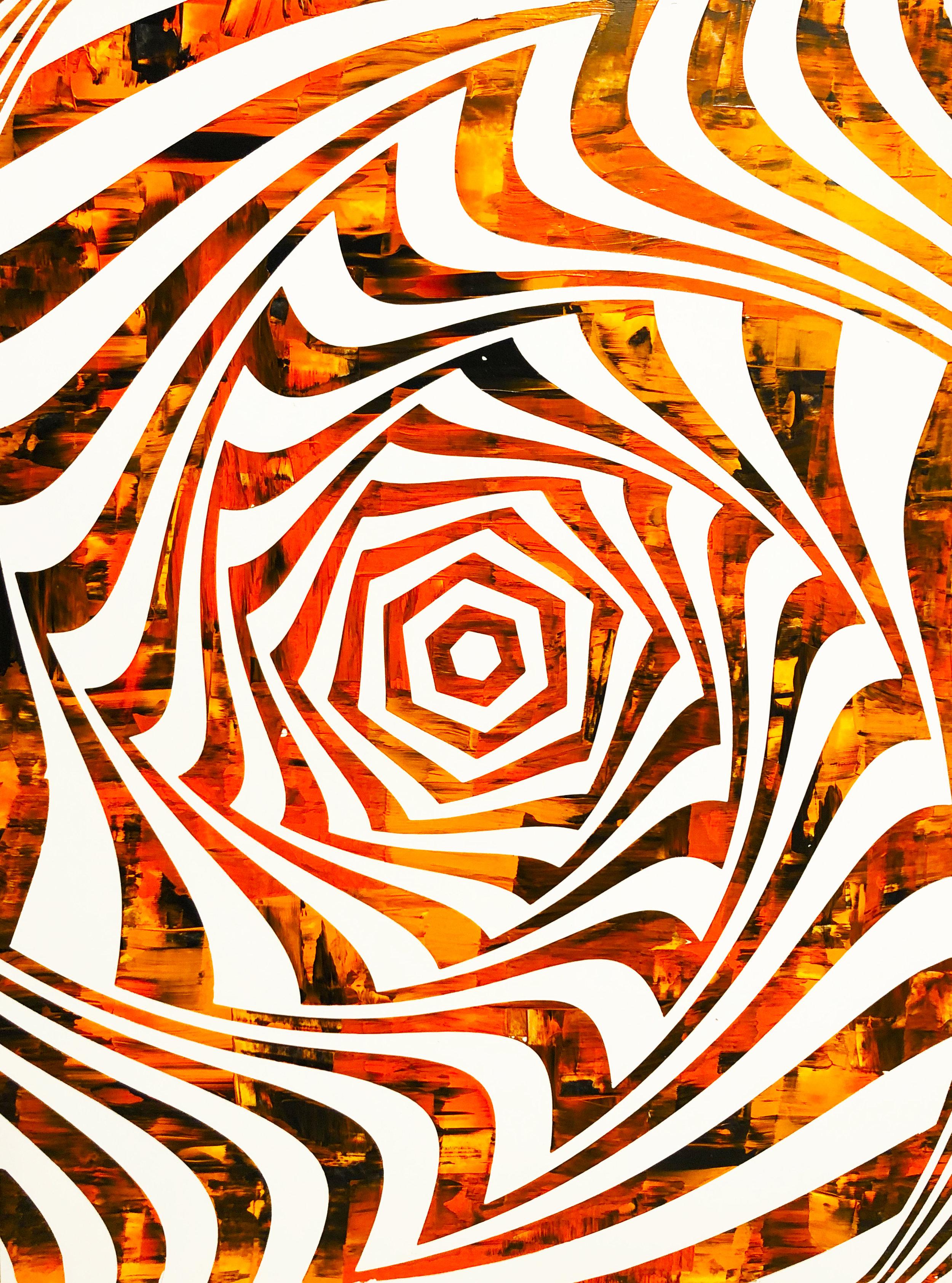 HUE Gallery of Contemporary Art - Sean Christopher Ward - The Tiger Vortex - Acrylic on MDF - 12x16 - 2018 - $375.JPG