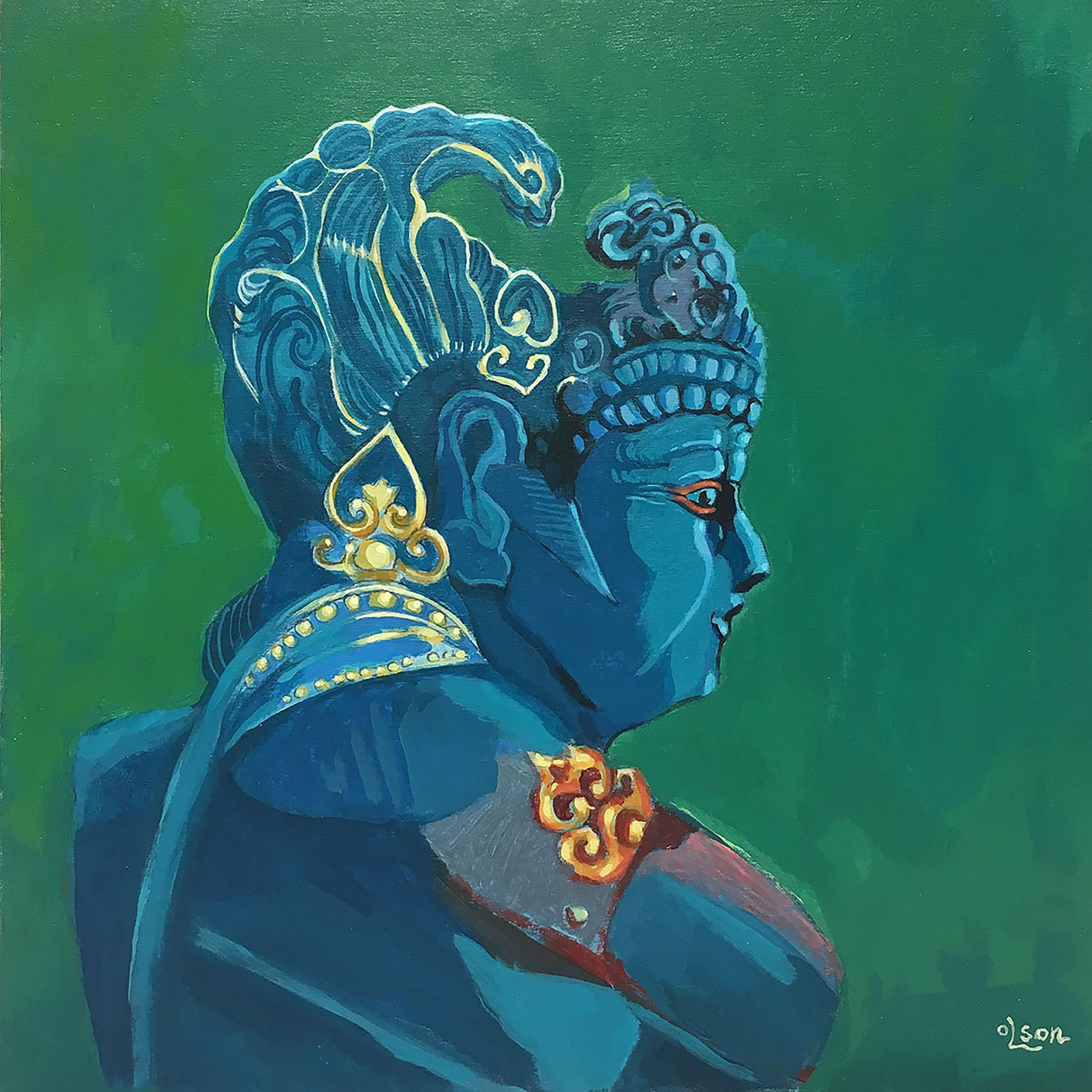 Christopher Olson-Balinese Statue-Acrylic-12x12in-2018-$1200.00.jpg