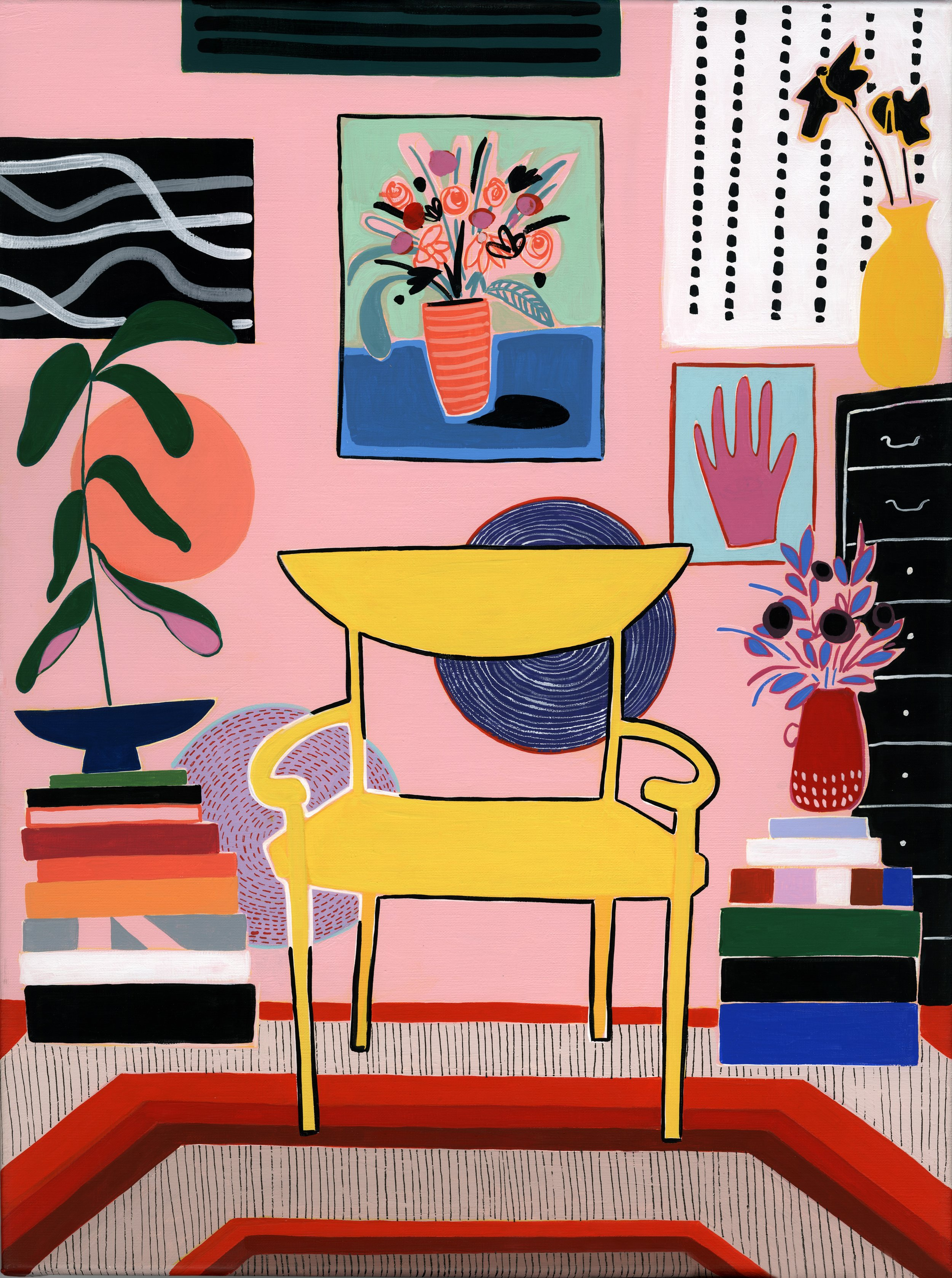 Mary Finlayson - Yellow Chair - Canvas Print with Maple Frame - 26.5x36- 1 of 1 - 2018 - $760.jpg