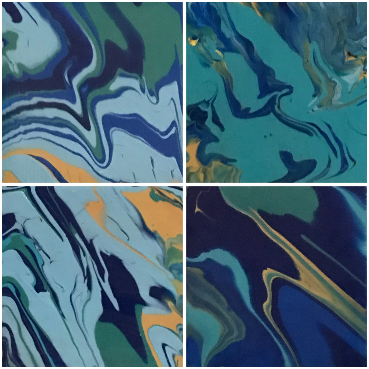 _ YaniPaints - Ocean Heart - acrylic on canvas - 4 4x4 Canvas panels - 2018 - $150.jpg