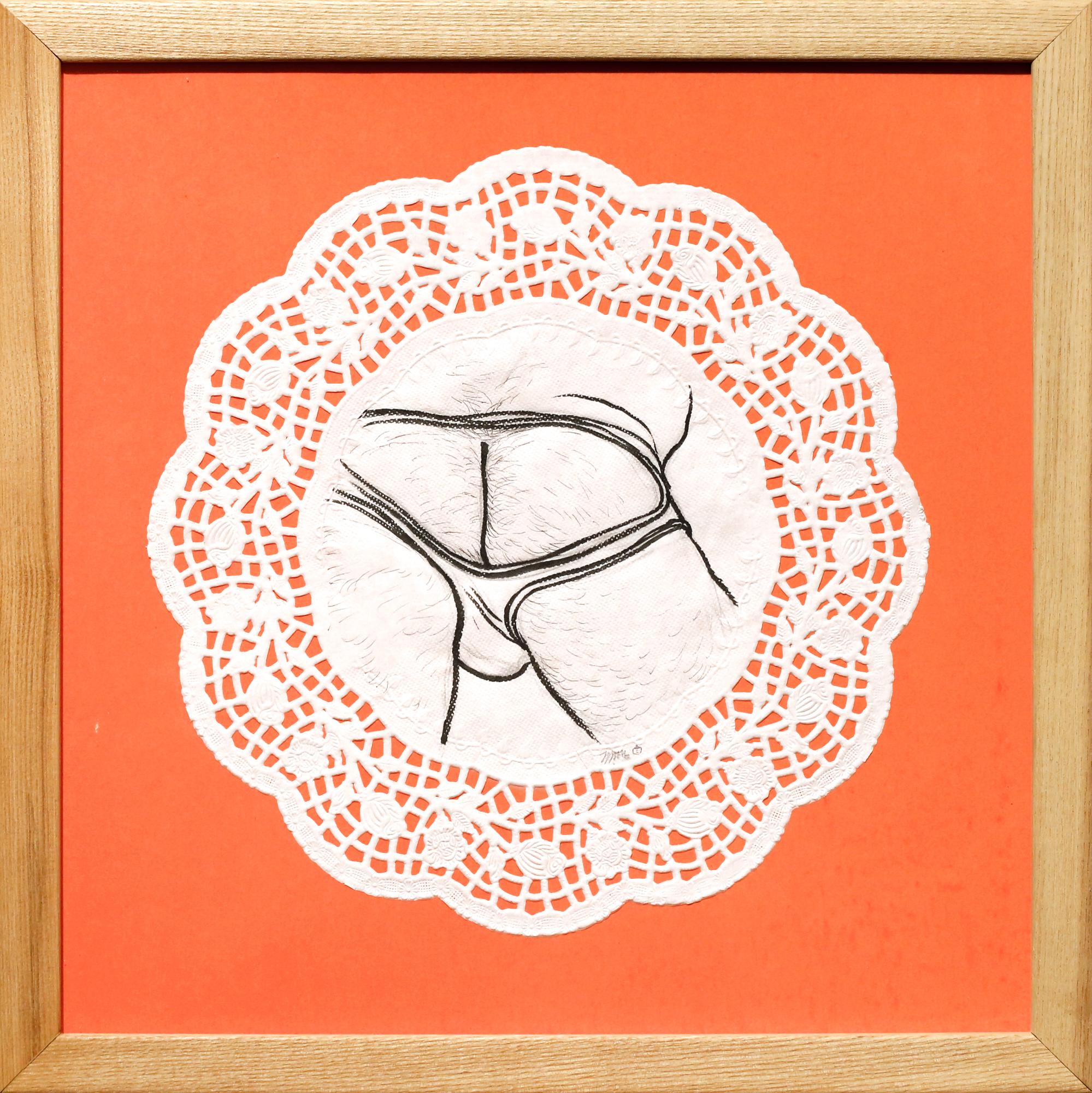 Paradigm Gallery - Jasjyot Singh Hans - Tea _ Cake II - Ink on doily mounted on screenprint - 13.25_H x 13.25_W - 2018 - $250.jpg
