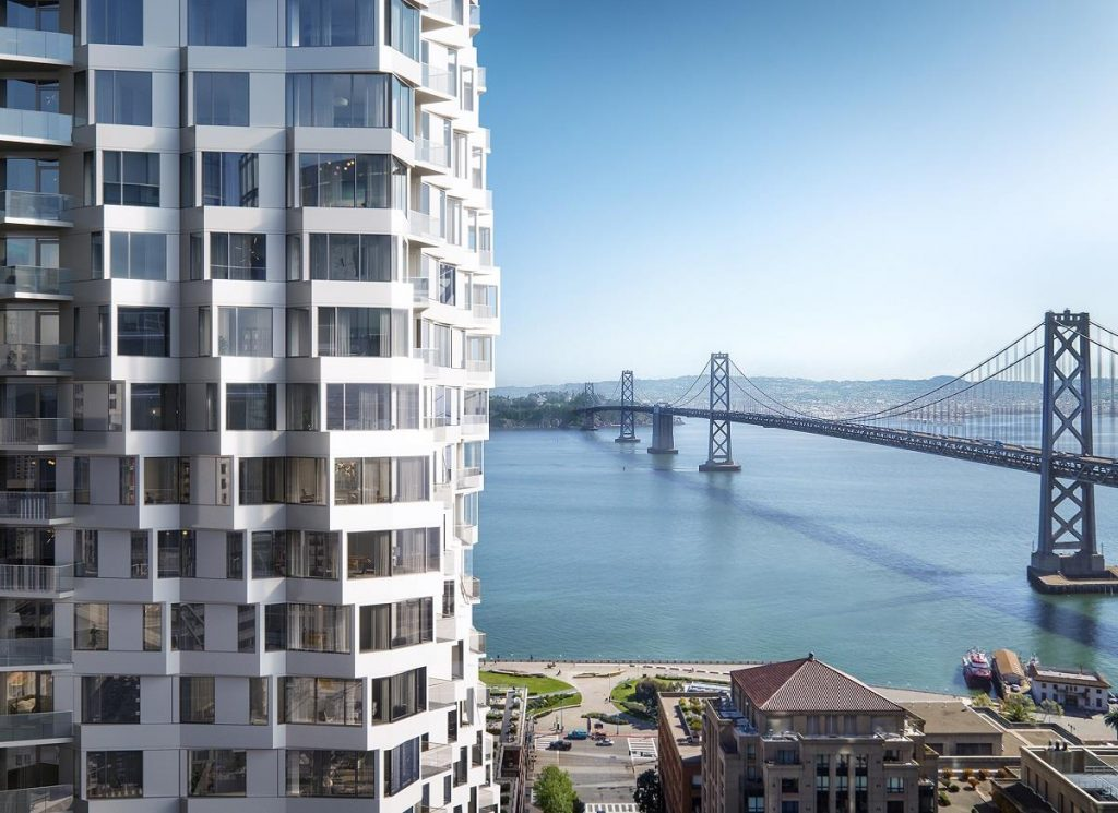MIRA, an urban residential development in the heart of San Francisco;  image by Binyan, courtesy of Studio Gang
