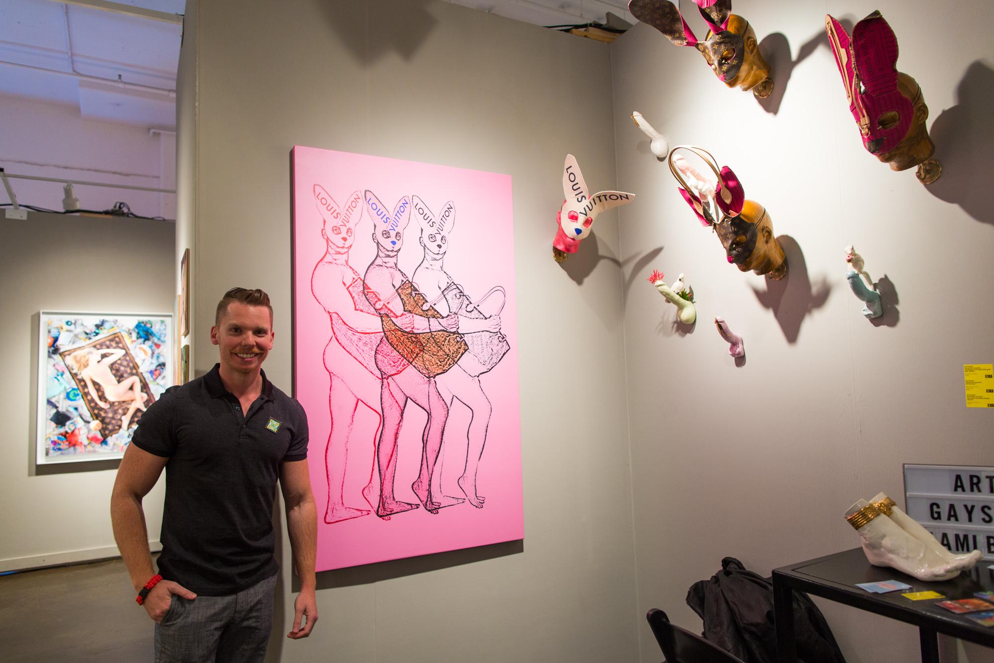 Alex Guerra in his Art Gaysel booth at Superfine! Art Fair in Chelsea, 2017.