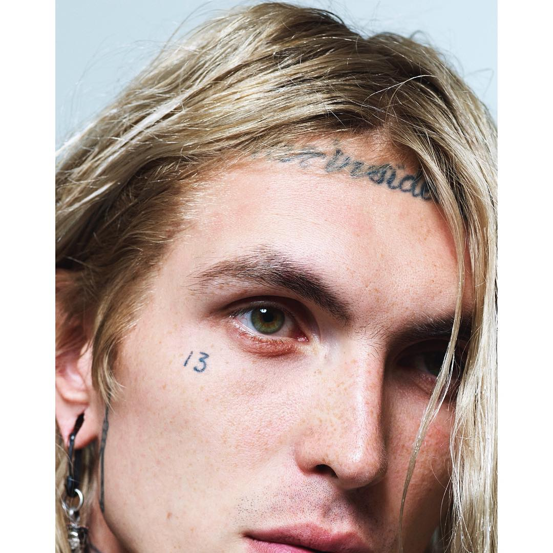 "Model/Actor Bradley Soileau (@brvdleysoileau).   The tattoo on his forehead says ""War inside my head"", a Suicidal Tendencies song.     Shot by Dario Catellani  (@dariocatellani)    For Fat Man Magazine  (@fatmanmagazine)    HOUSEtribeca.com  photo-retouching house    #photo #photoshoot #photography #photographer #dariocatellani #style #styling #stylist #model #modeling #bradleysoileau #tattoos #fatmanmag #retouch #retouching #housestudios #nyc #newyorkcity #editorial #hair #design #designer #fashion #fashioneditorial #fashionphotography  #13 #lanadelrey #borntodie #la"